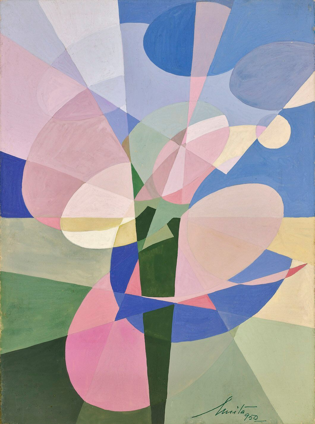 Anita Payró (1897-1980)   Untitled Abstract Composition , 1950  oil and tempera on board 14 1/2 x 10 3/4 inches; 36.8 x 27.3 centimeters