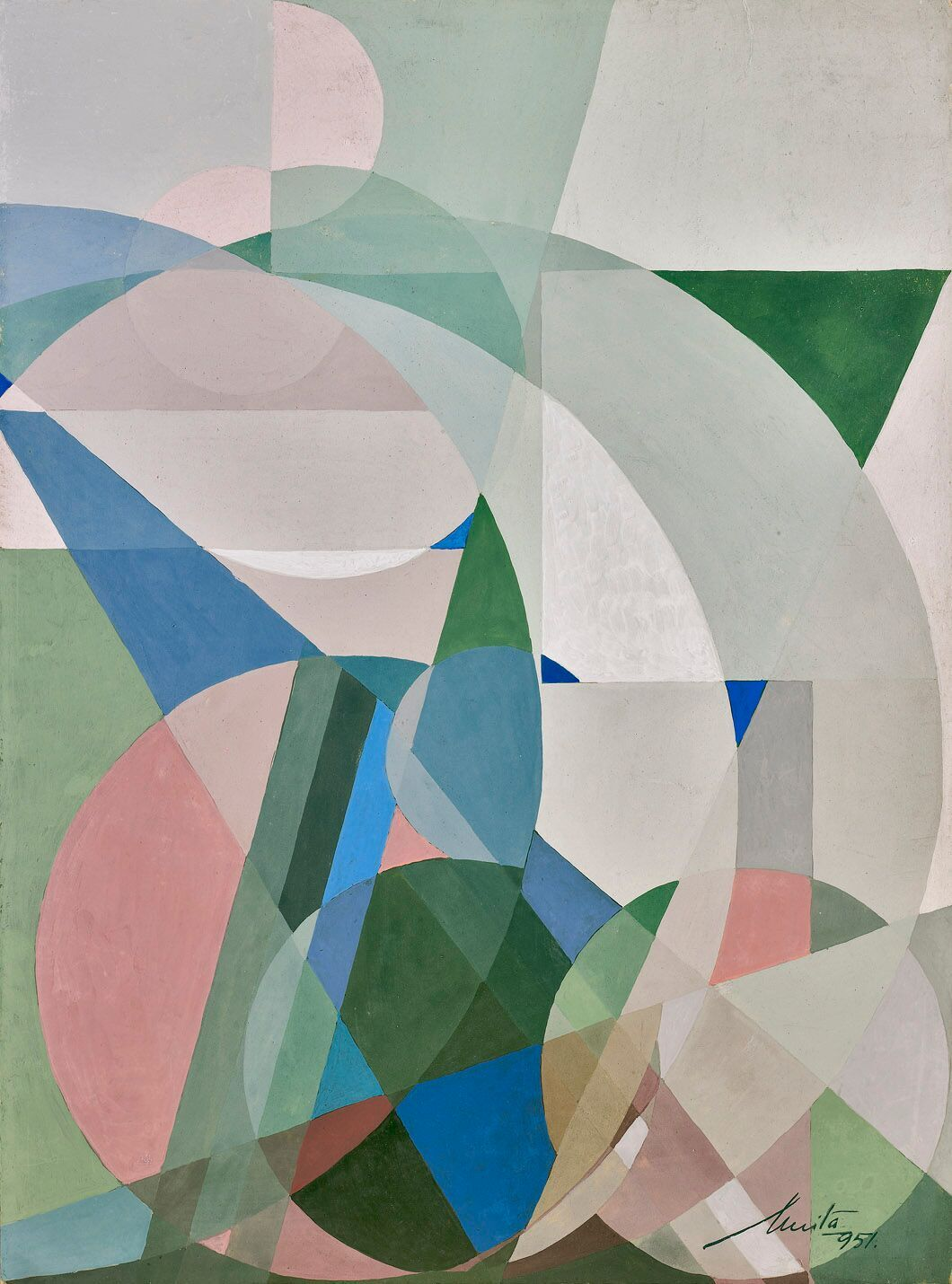 Anita Payró (1897-1980)   Untitled Abstract Composition , 1951  oil and tempera on board 14 1/2 x 10 3/4 inches; 36.8 x 27.3 centimeters