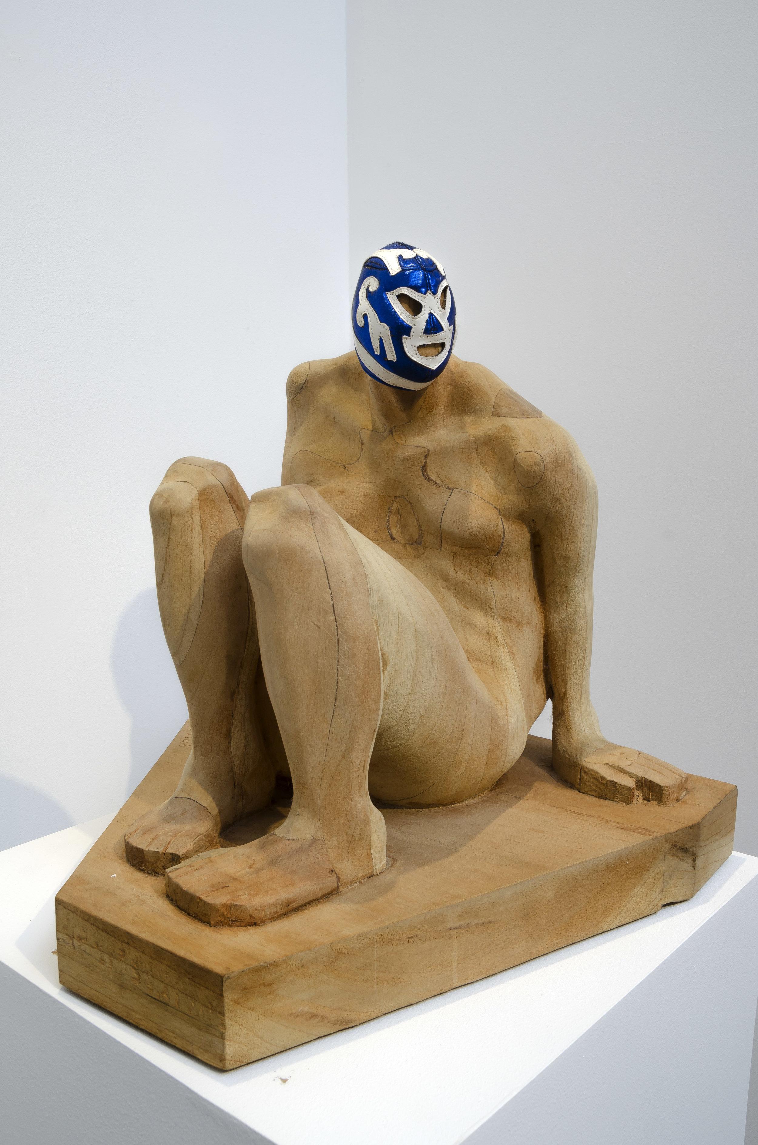 Armando Romero (b. 1964)   Seated Pride , 2008  wood and vinyl 15 3/4 x 16 x 15 1/2 inches; 40 x 40.6 x 39.4 centimeters