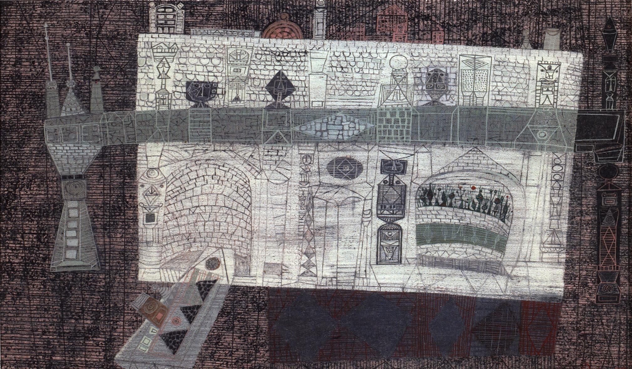 Bridge of Faces , circa 1950  mixed media on paper  14 1/2 x 21 inches; 36.8 x 53.3 centimeters