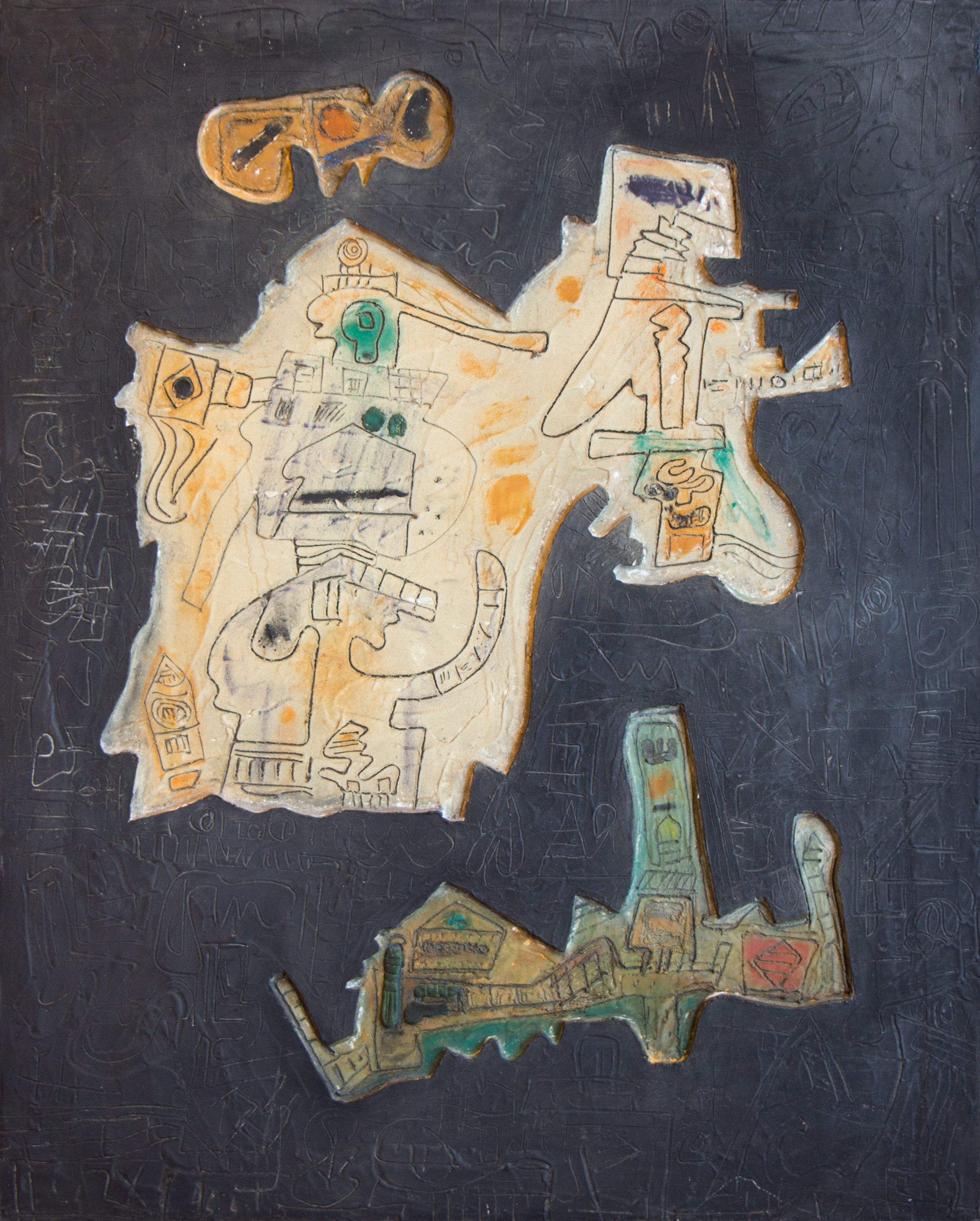 To The Caves , 1969  mixed media  30 1/2 x 24 1/4 inches; 77.5 x 61.6 centimeters