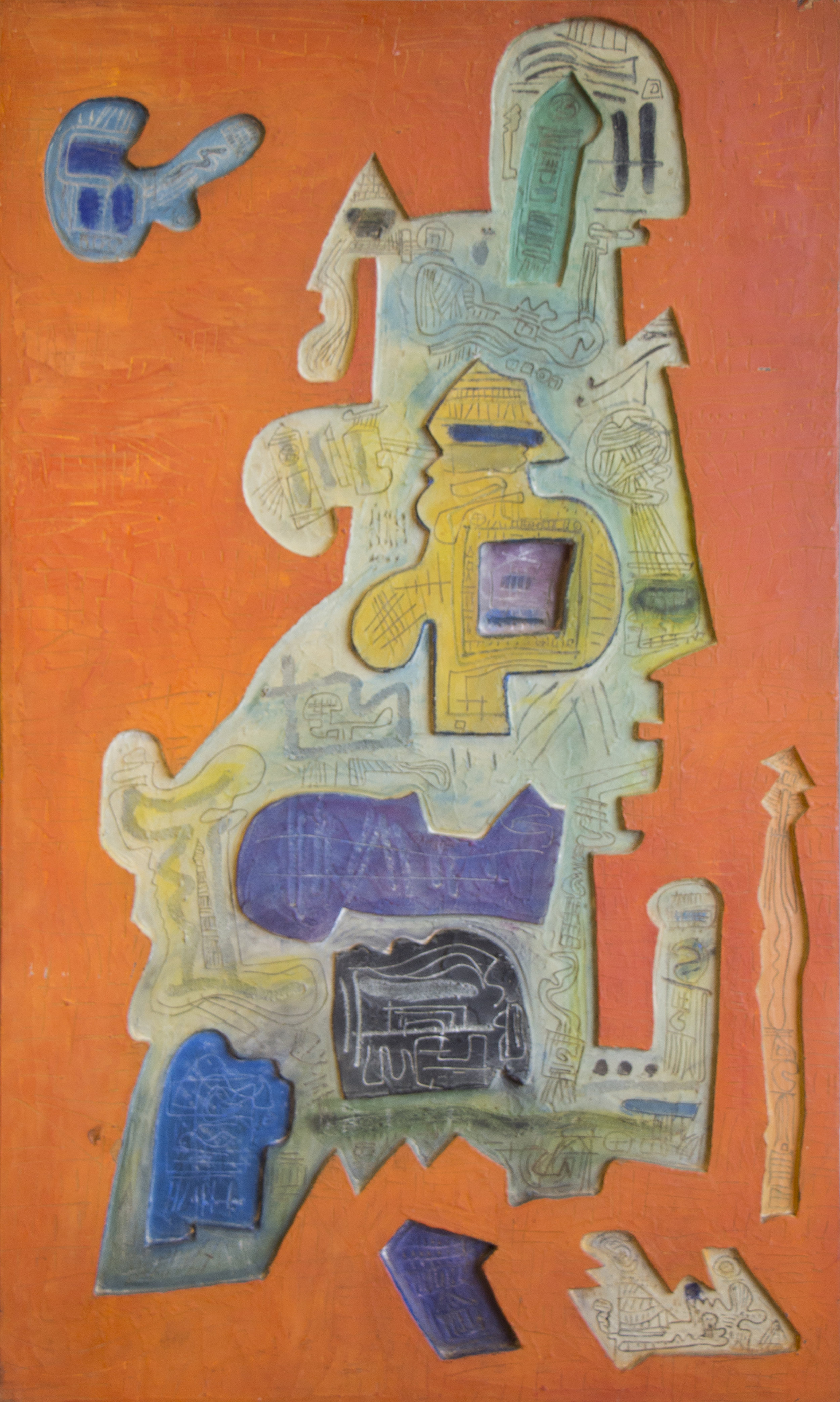Tropical Interior , 1970  mixed media  40 x 24 inches; 101.6 x 61 centimeters