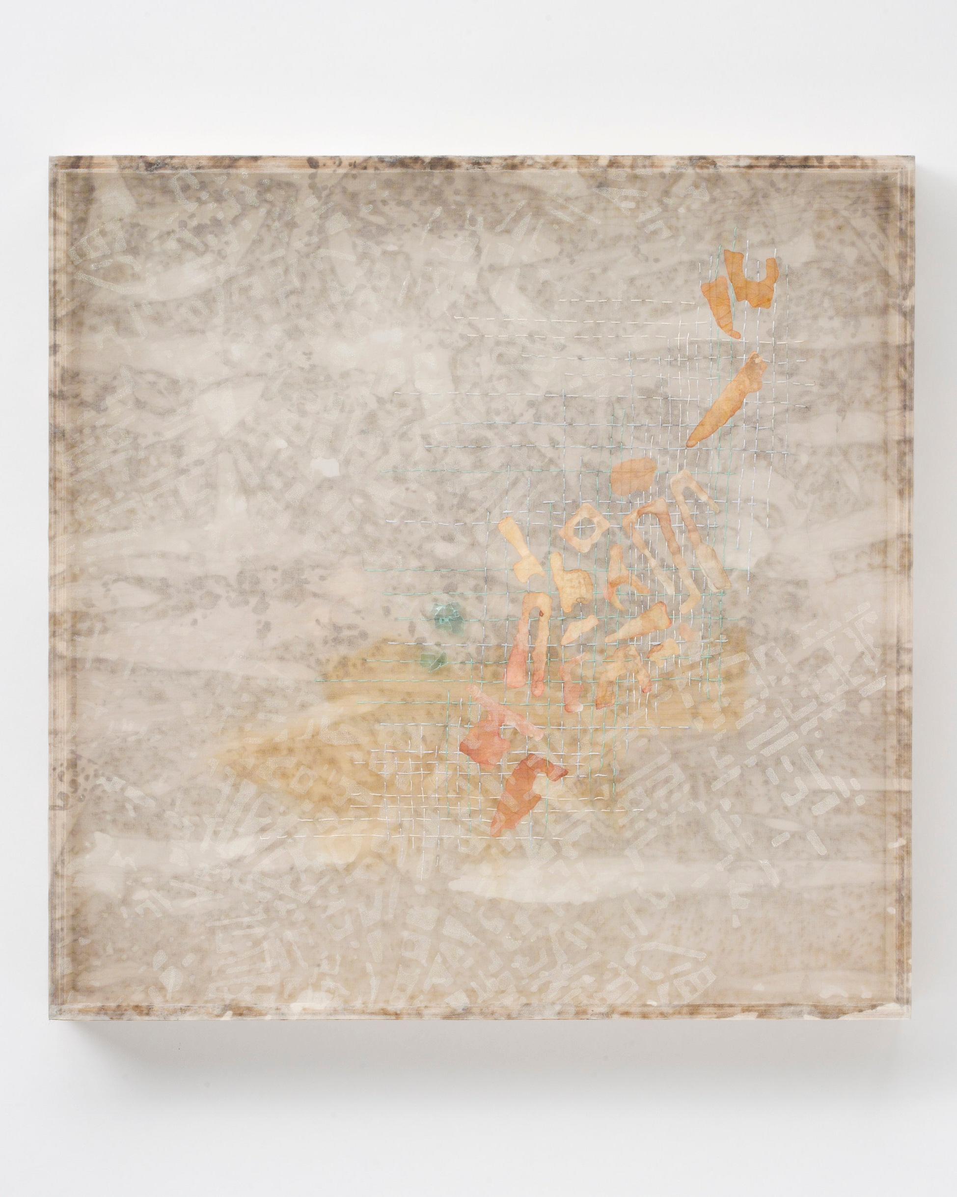 Victoria May   Haussmannization reexamined , 2016 stained silk, screen printed polyester, ink on kozo, thread, wood 18 x 18 x 2 inches; 45.7 x 45.7 x 5.1 centimeters