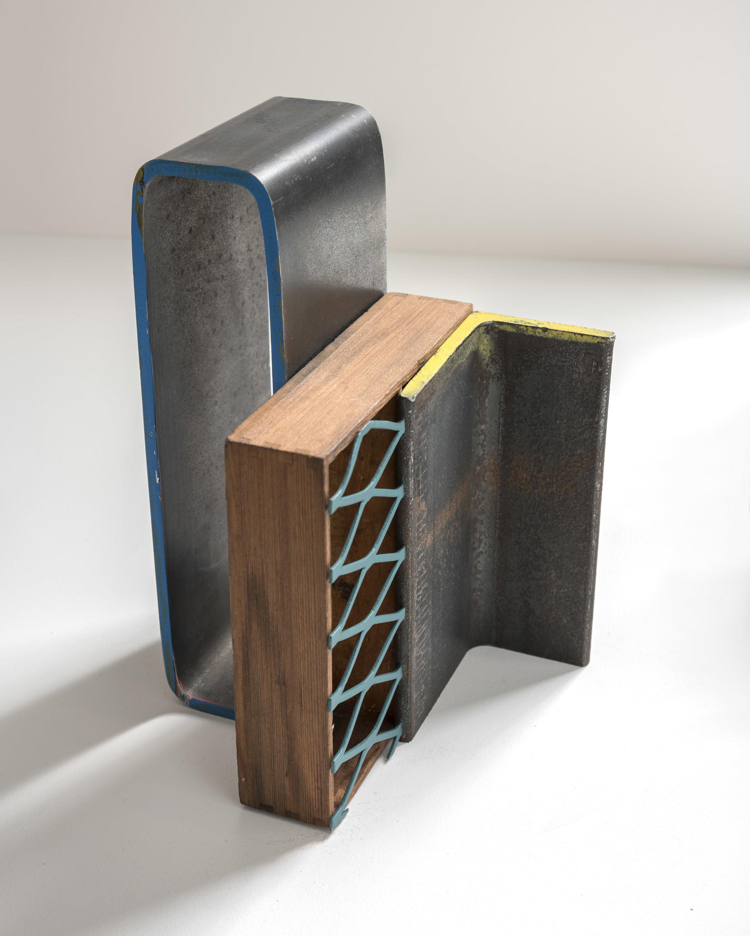 Assemblage ll , 2019 steel, wood, magnet, aerosol paint 5 1/2 x 8 x 5 3/8 inches; 14 x 20.3 x 13.7 centimeters