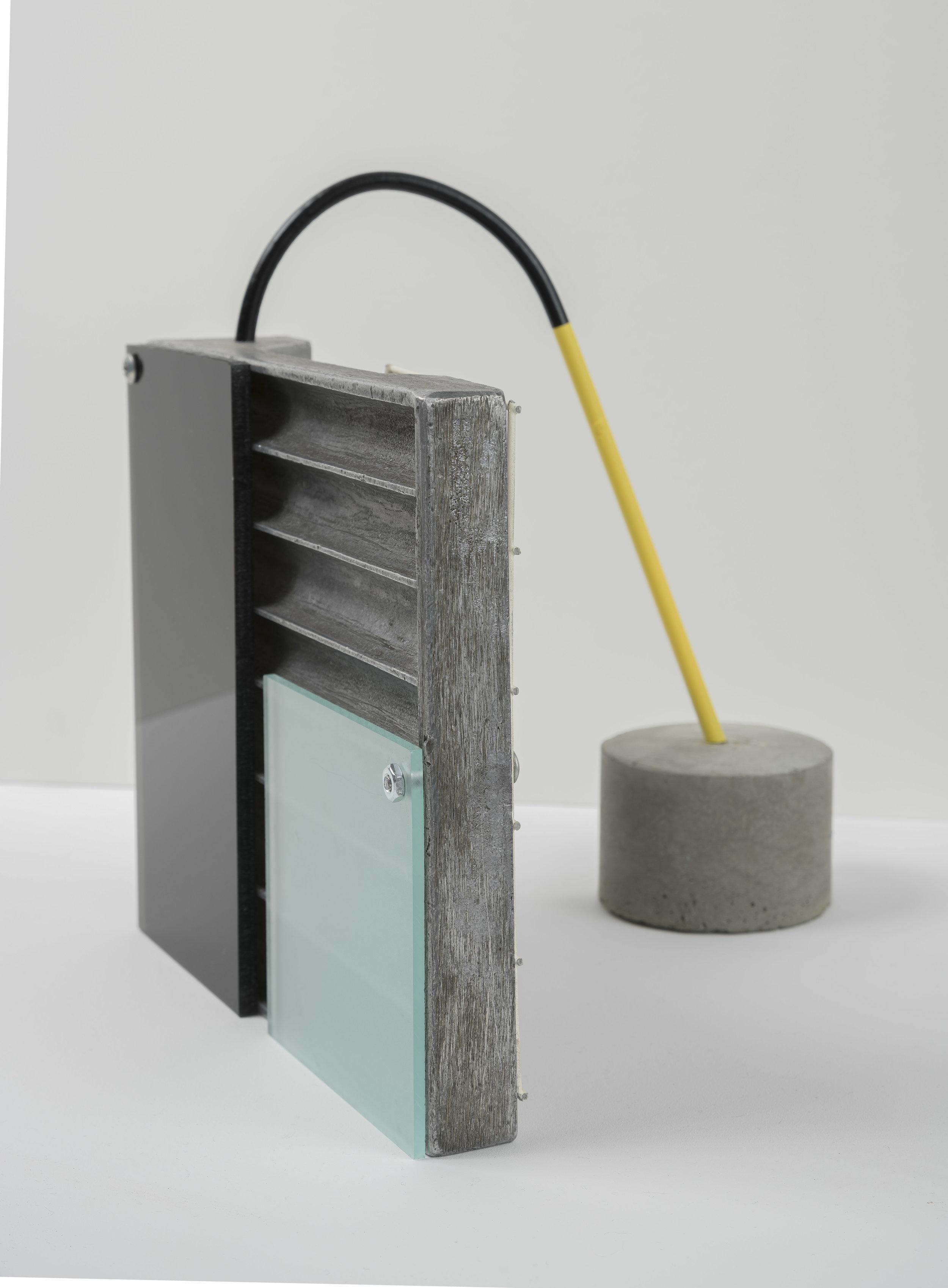 Assemblage l, 2019  aluminum, steel, cement, plexiglass, aerosol paint 8 1/2 x 9 1/2 x 7 inches; 21.6 x 24.1 x 17.8 centimeters  $3,000.00