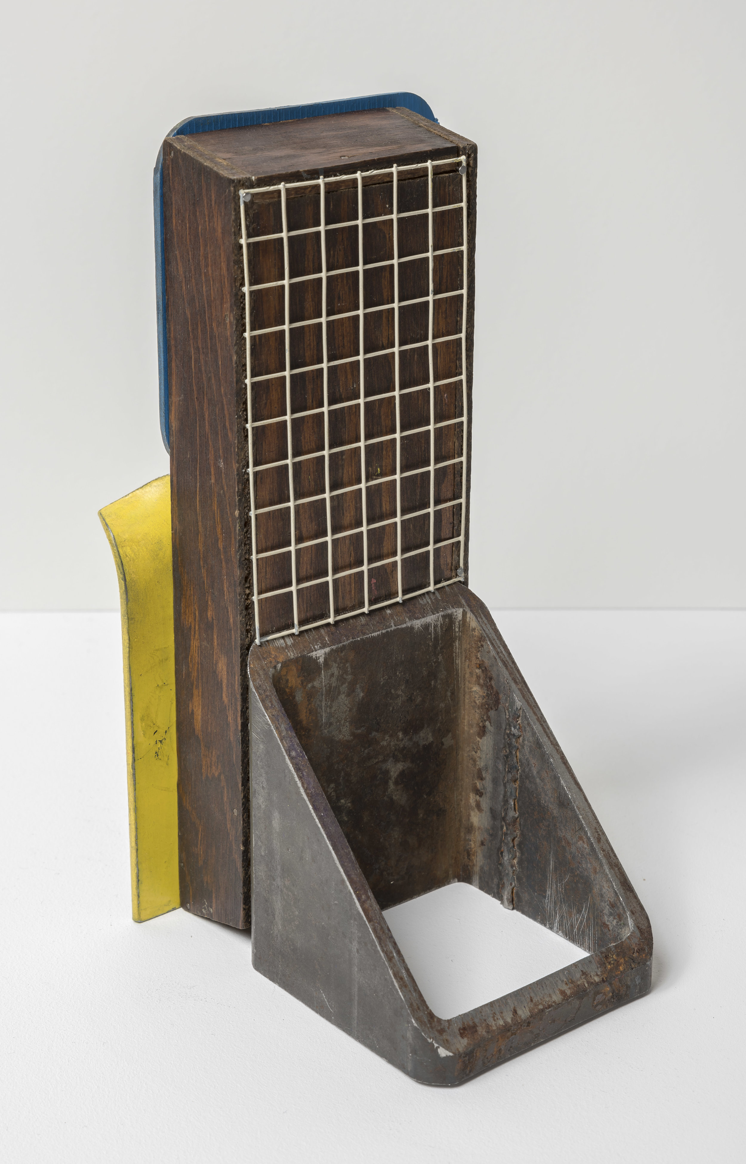Assemblage IV , 2019  steel, wood, magnet, aerosol paint 4 x 9 1/2 x 5 inches; 10.2 x 24.1 x 12.7 centimeters  $3,000.00