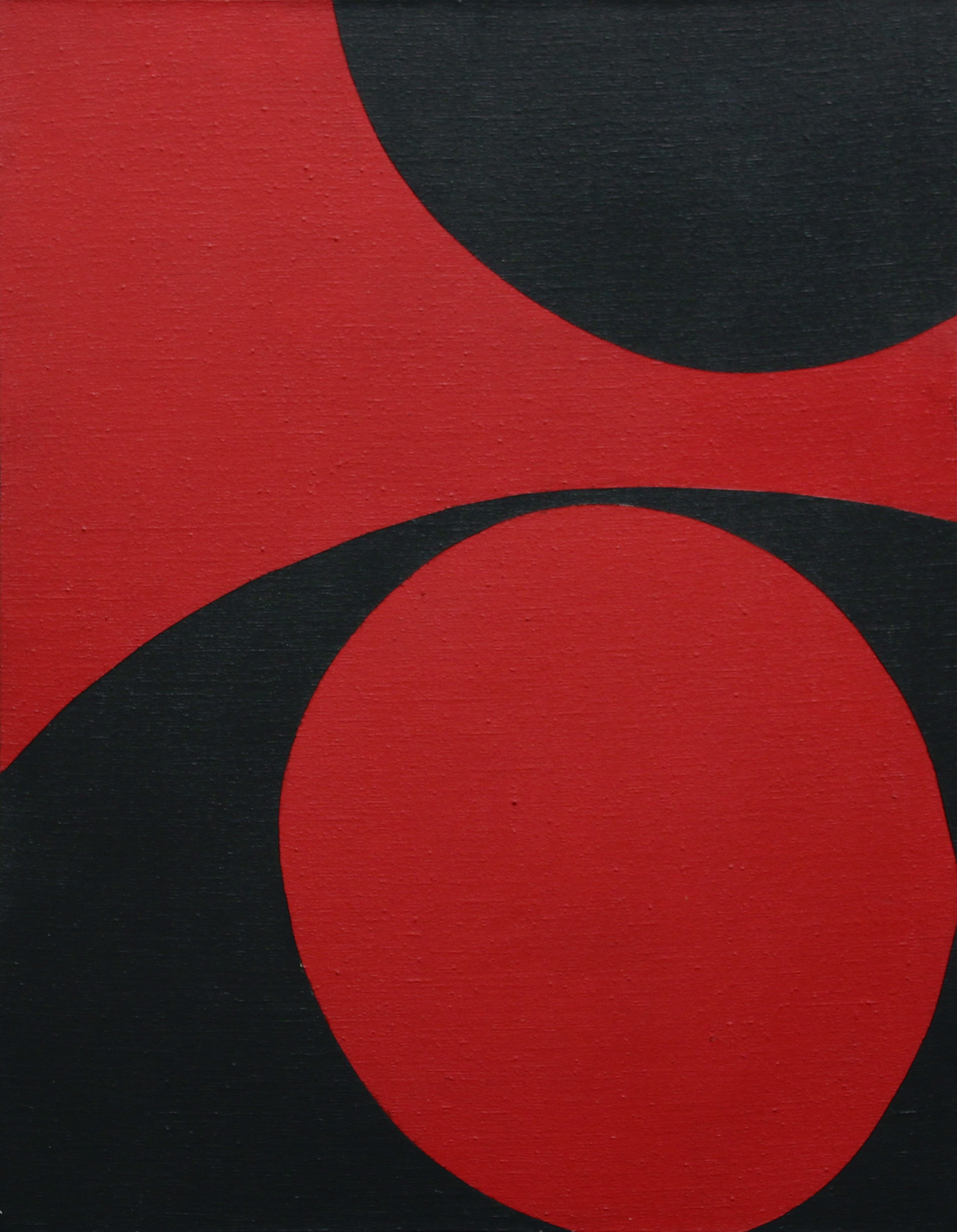 June Harwood  (1933-2015)  Colorform Series (Red & Black) , 1965 oil on canvas 27 x 21 inches; 68.6 x 53.3 centimeters
