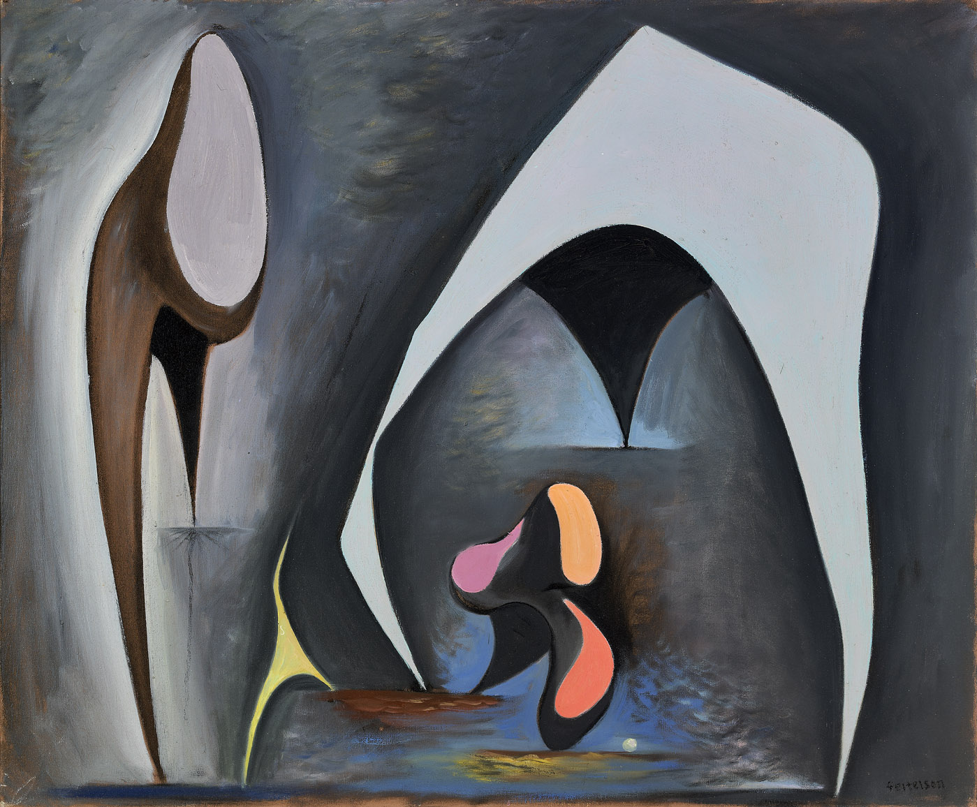 Magical Forms , 1945  oil on canvas 30 x 36 inches; 76.2 x 91.4 centimeters