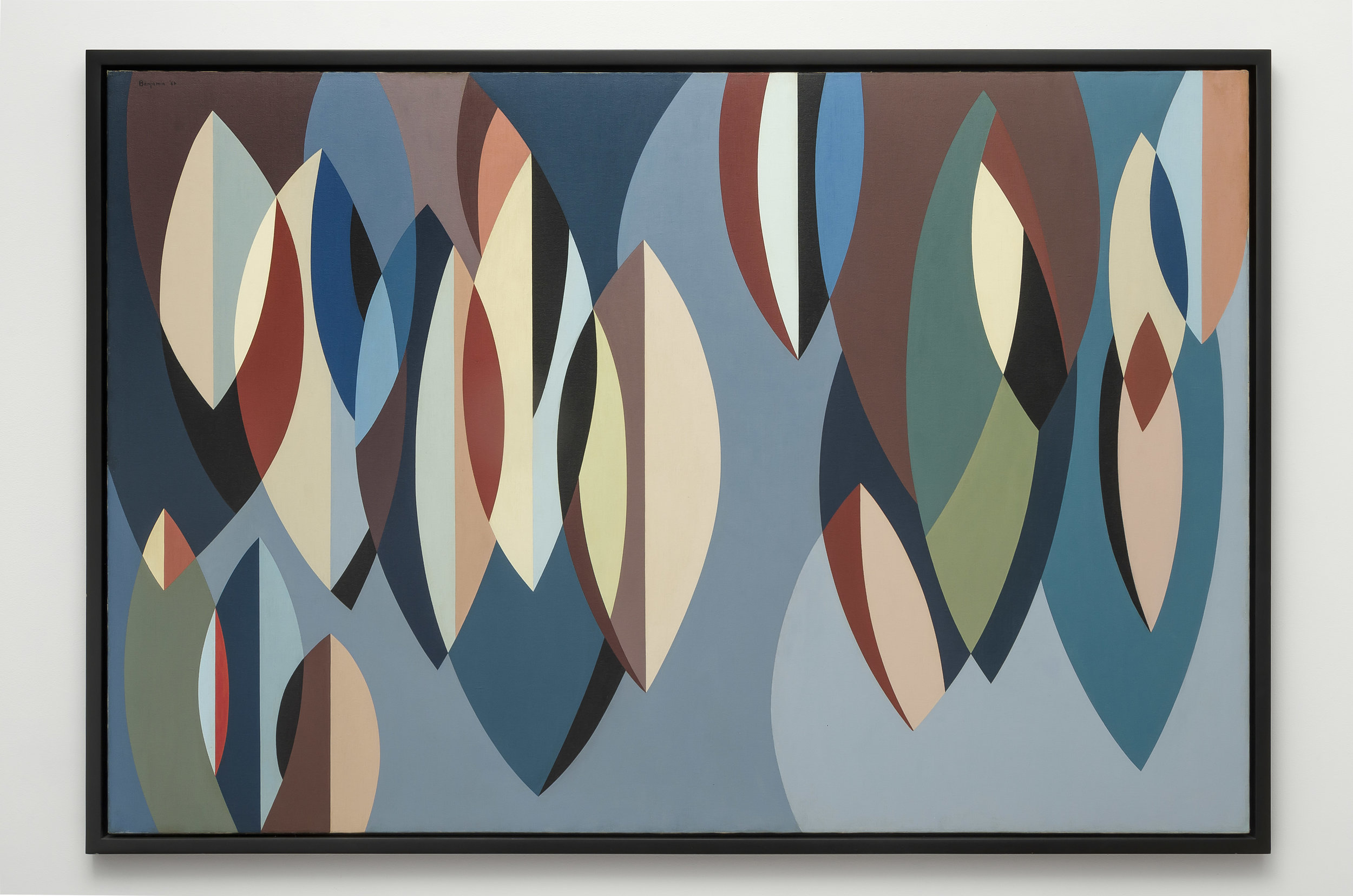 Elliptical Planes , 1956  oil on canvas 48 x 72 inches; 121.9 x 182.9 centimeters