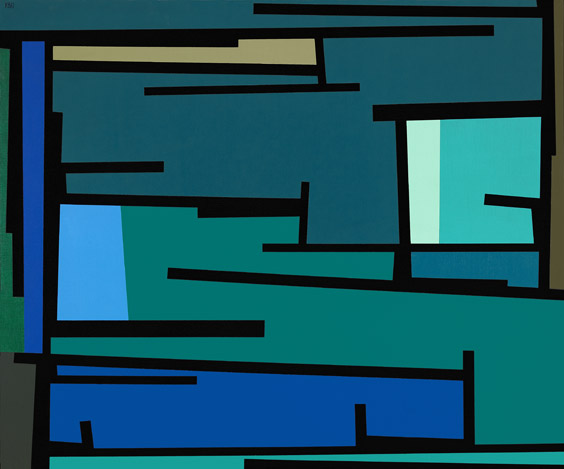 Tape Grid #38 , 1960  oil on canvas 42 x 50 inches; 106.7 x 127 centimeters