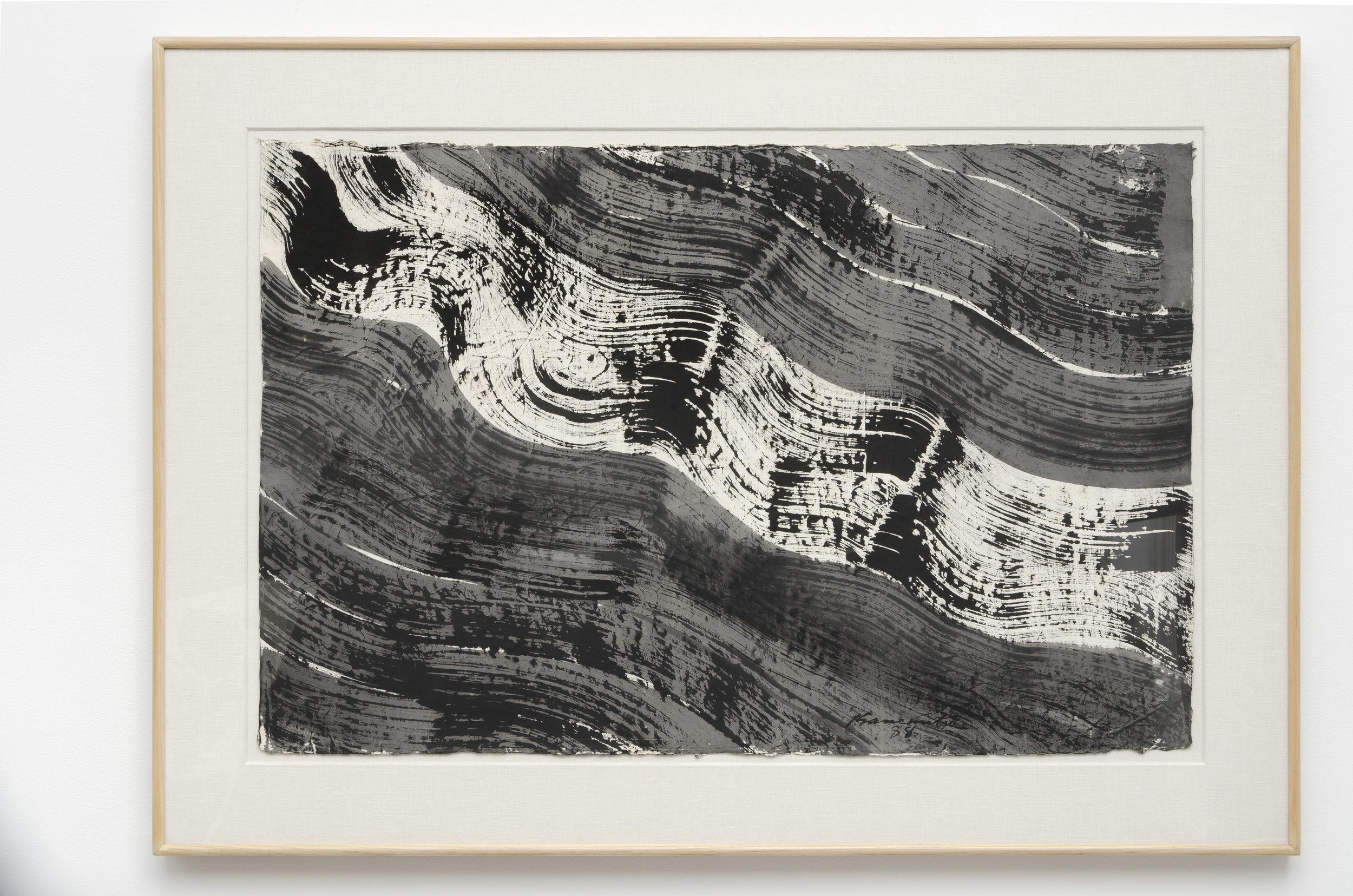 Matsumi Kanemitsu (1922-1992)   Nagare #5 , 1988 sumi on handmade Japanese paper 33 1/2 x 46 1/2 inches; 85.1 x 118.1 centimeters