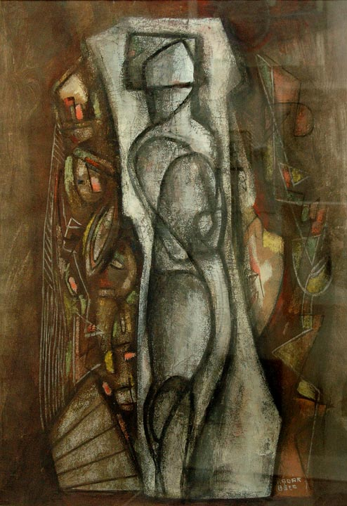 Untitled Composition with Figure , circa 1940  gouache on paper 31 x 22 1/2 inches; 78.7 x 57.2 centimeters