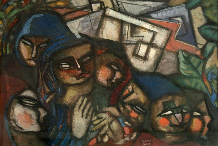 Family , circa 1940s  gouache on paper 22 1/2 x 29 3/4 inches; 57.2 x 75.6 centimeters