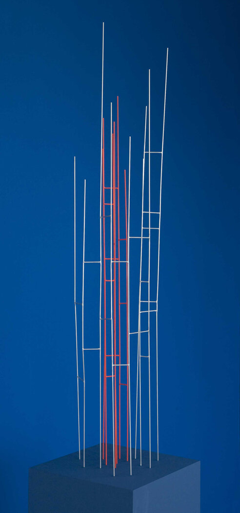 Mikado 22:08 , 2012  stainless steel with red pigment 49 x 7 x 9 inches; 124.5 x 18 x 23 centimeters