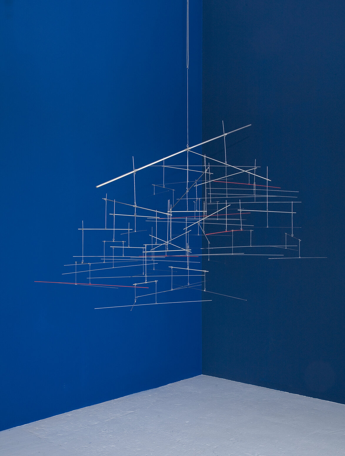 Linienschiff 20:31 , 2012  stainless steel and red pigment 45 1/4 x 69 1/4 x 53 1/2 inches; 115 x 176 x 136 centimeters