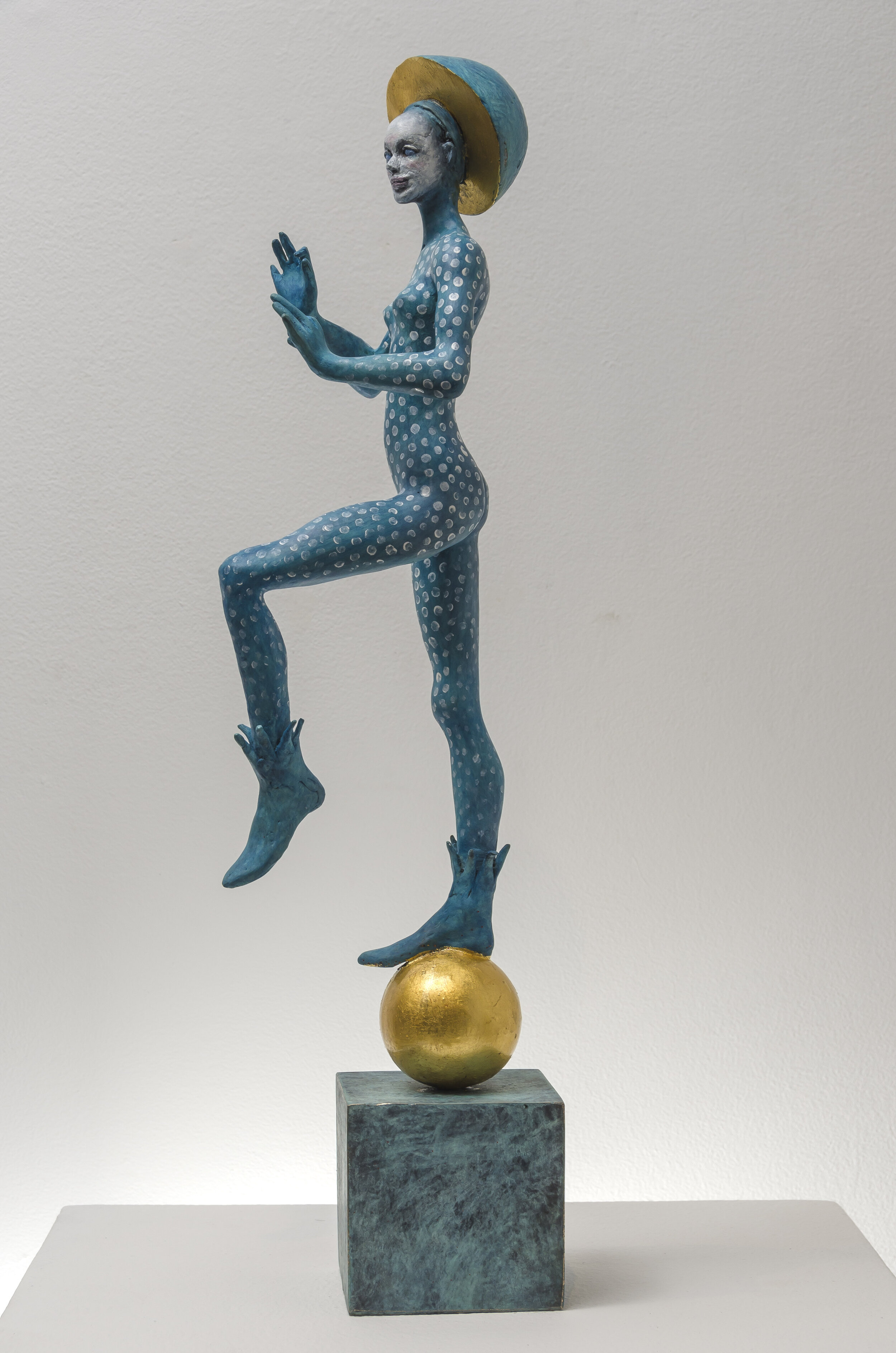Dancer , 2019  gold leaf and oil paint on patinated bronze 20 x 6 x 6 inches; 50.8 x 15.2 x 15.2 centimeters