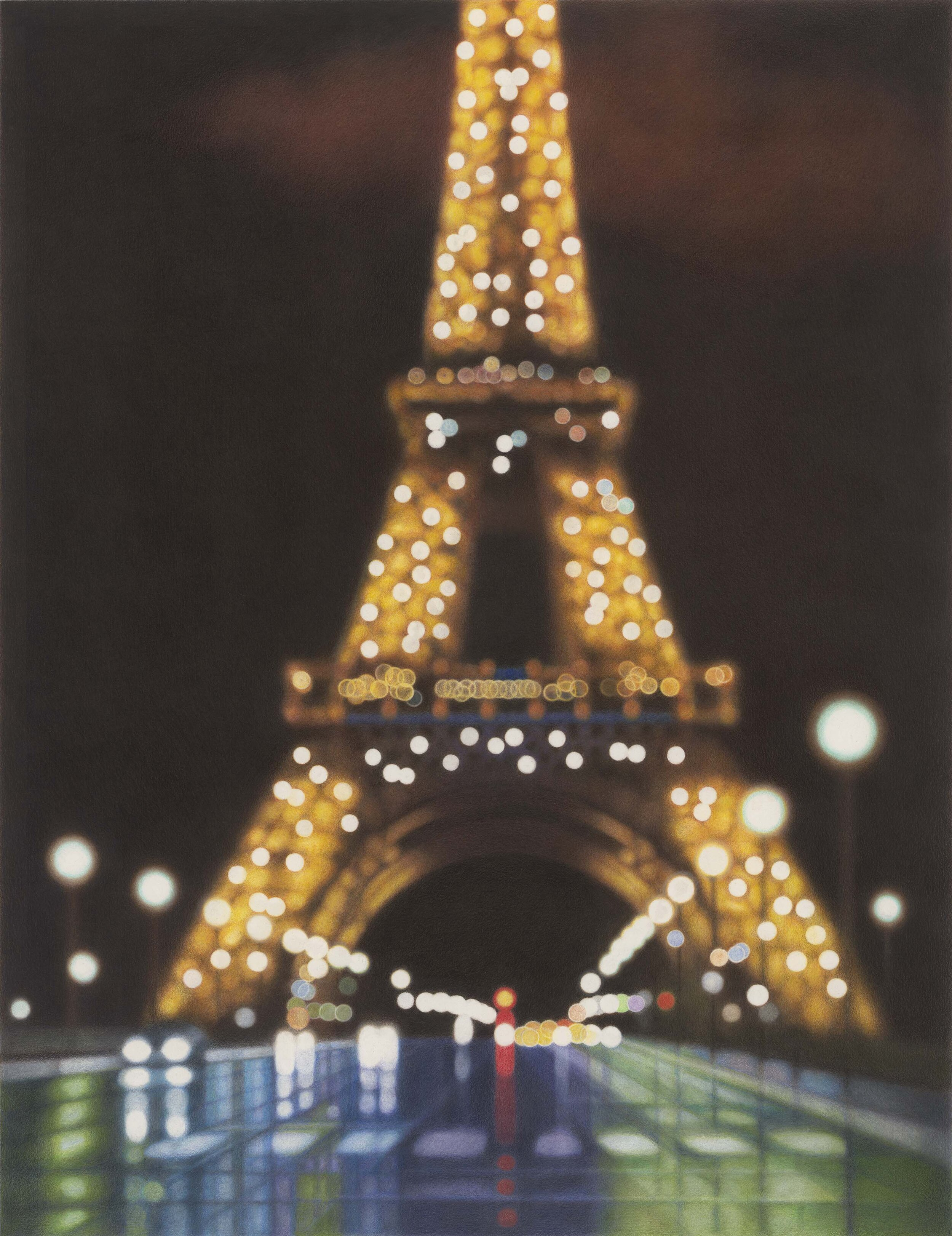 Eiffel Tower, II , 2014 color pencil and solvent on Strathmore Bristol Vellum 34 x 27 inches; 86.4 x 68.6 centimeters