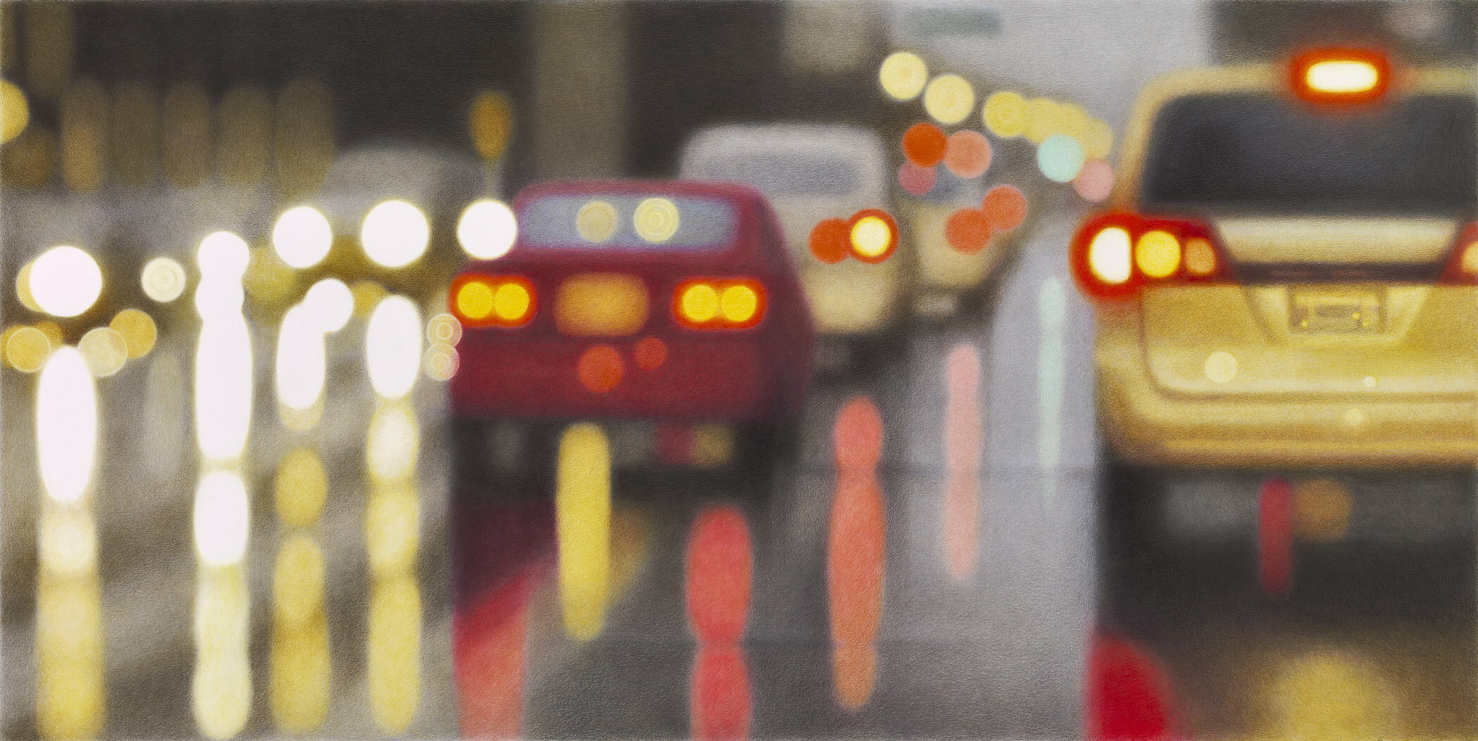 Spring Street, Los Angeles , 2011 colored pencil and solvent on Strathmore Bristol Vellum 26 x 40 inches; 66 x 101.6 centimeters