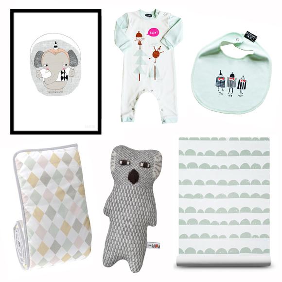 Clockwise: Elephant print -  Seventy Tree  / Babygrow -  Corby Tindesticks  / Bib -  Corby Tindersticks  / Wallpaper -  This Modern Life  / Knited toy -  Donna Wilson  / Cot bumper -  Nubie