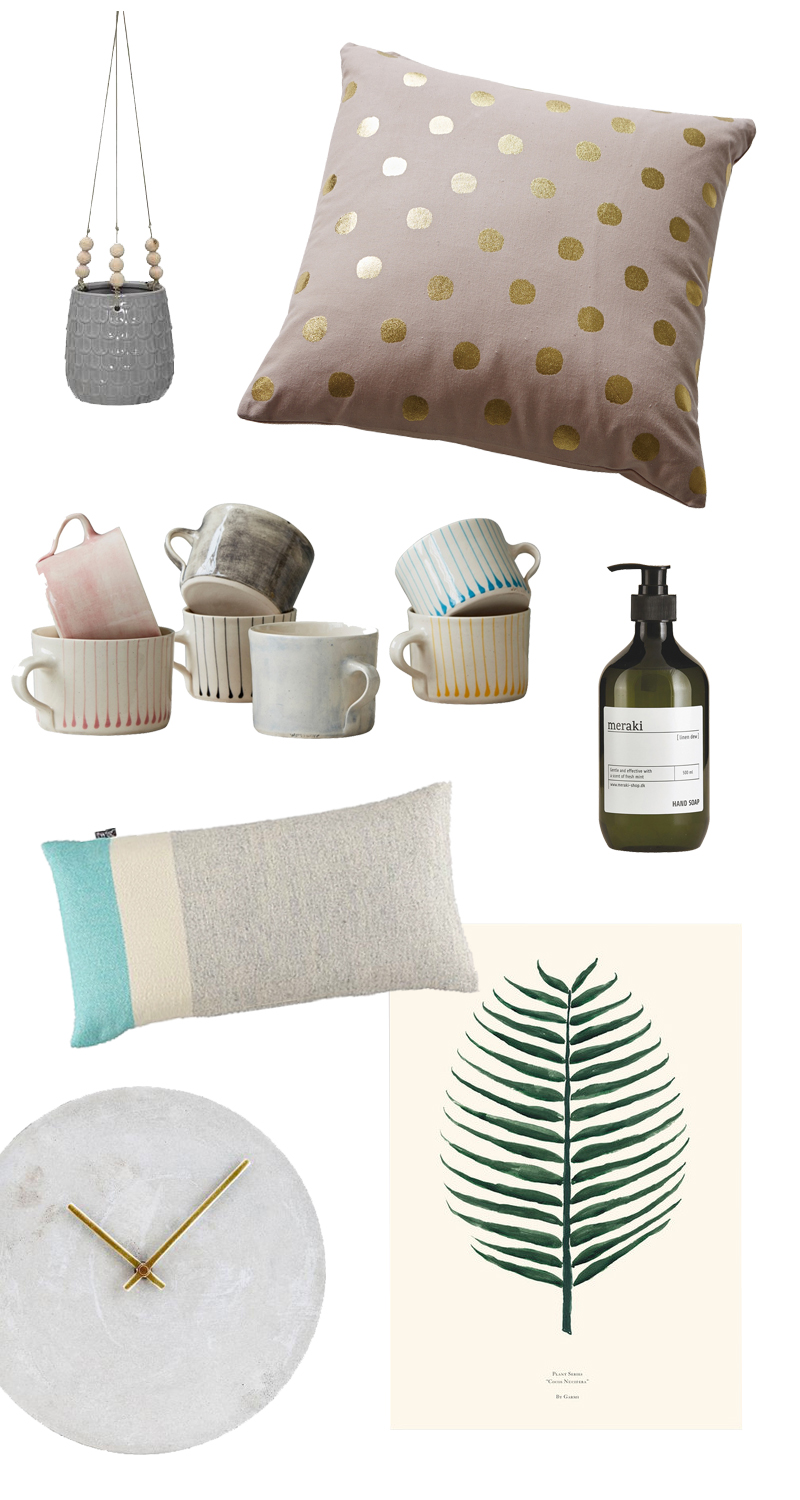 hanging plant pot from Tea & Kate /Pink cushion with gold spots from Rigby & Mac / Handmade mugs from Rigby & Mac / Meraki handwash from Design Vintage; / Grey and Turquiose cushion from Alresford Linen Company / Concrete wall clock from Holloways of Ludlow /Cocos Nucifera Print from Mon Pote - All via  Trouva