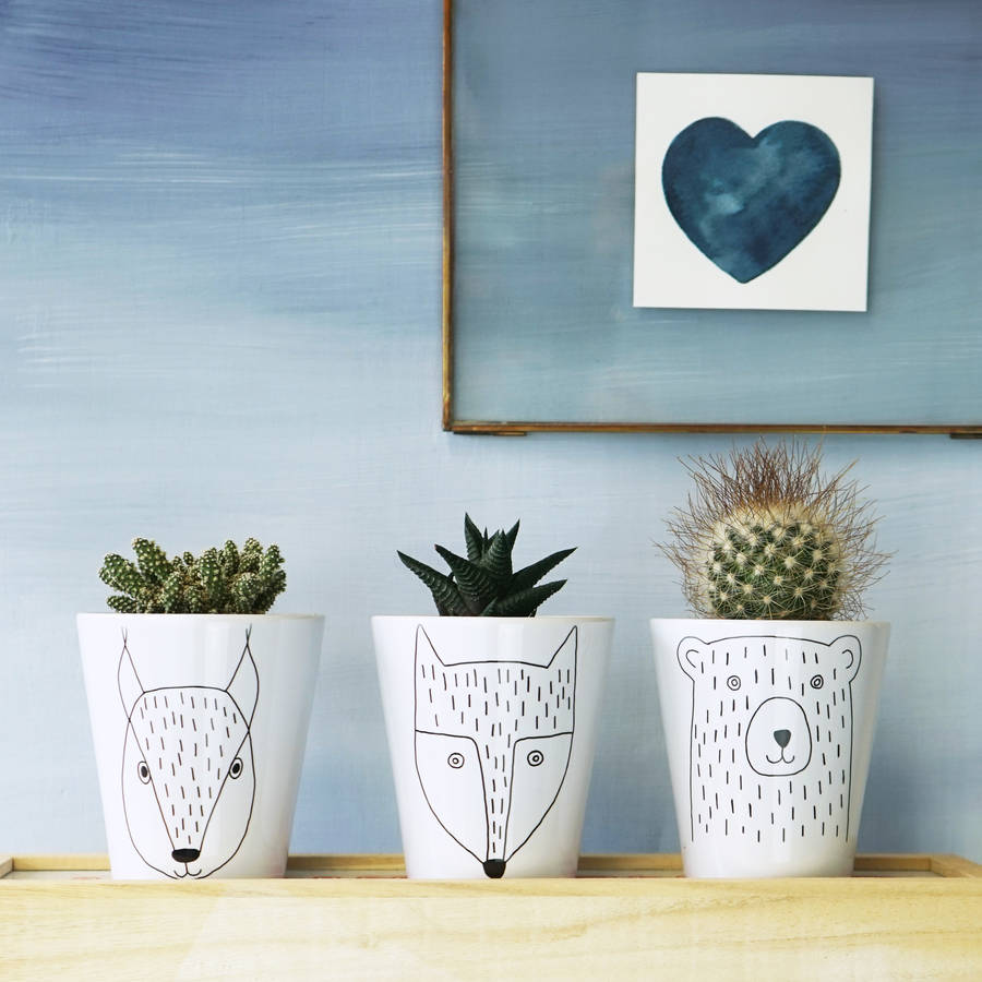 Scandi Animal Plant Pots (set of 3) - Sparks Living / NOTHS - £30 (h 10cm dia 9cm)