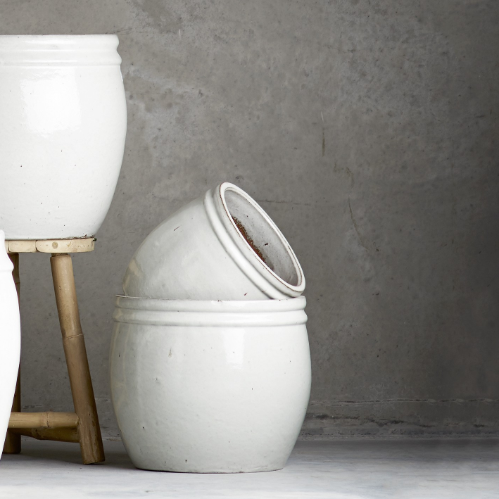 White glazed ceramic planter  - Design Vintage - £45 (38cm dia,32cm h)