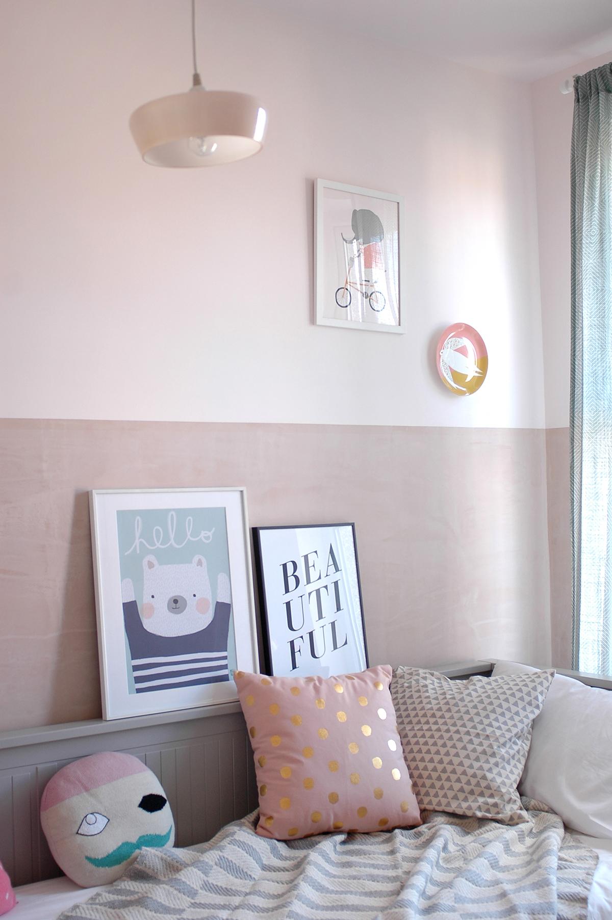 Day bed : Ikea /  Vintage pendant light : V Interior /  Curtain : H&M /  Pirate cushion by Lucky Boy Sunday/  Spotty cushion : Rigby and Mac (via Trouva) /  Triangle cushion : H&M /  Throw : Oliver Bonas /  Elephant print : Petit Pippin /  Bird plate : Donna WIlson via Moonko / Hello bear print  by Aless Baylis /  Beautiful print : John Lewis