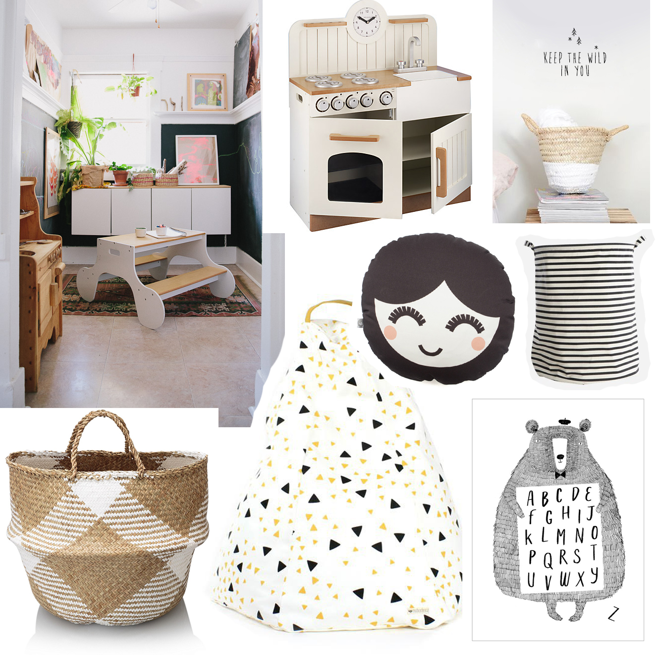 Top right: via  Cup of Jo  /  Play kitchen , £100, John Lewis /  Keep the Wild in you decal , £16.50, Violet and Percy /  Stripy storage bag , £13, Southwood Stores /  Face cushion , £35, This Modern Life /  Alphabear A2 print , £14, This Modern Life /  Black and Yellow beanbag , £50.74, Smallable /  Sea grass basket , £19, Oliver Bonas