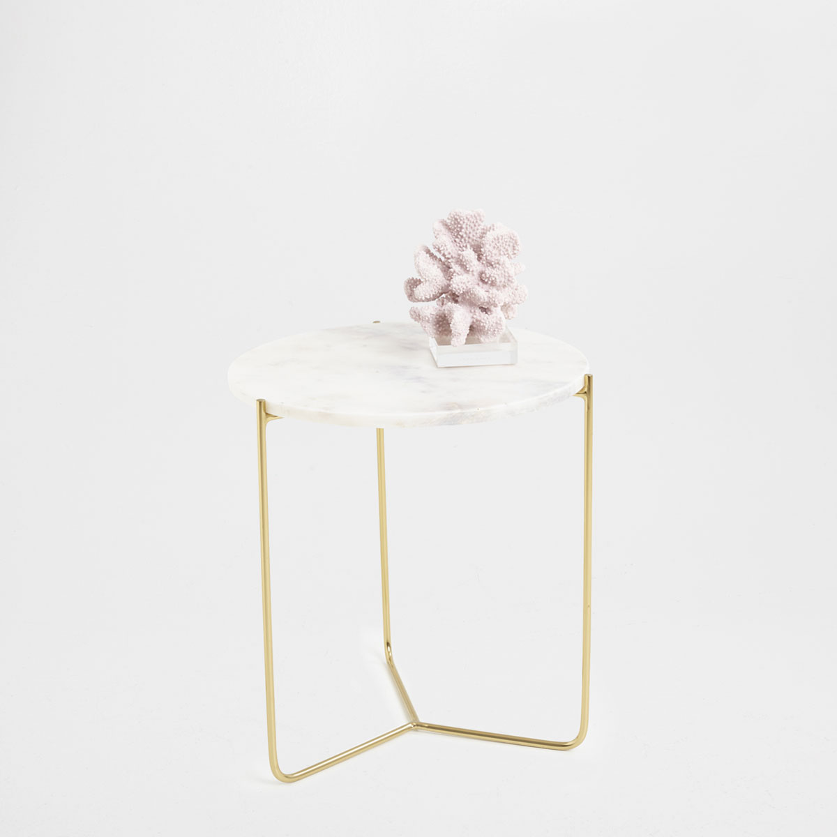 Round white marble side table , £119.99 - Zara Home