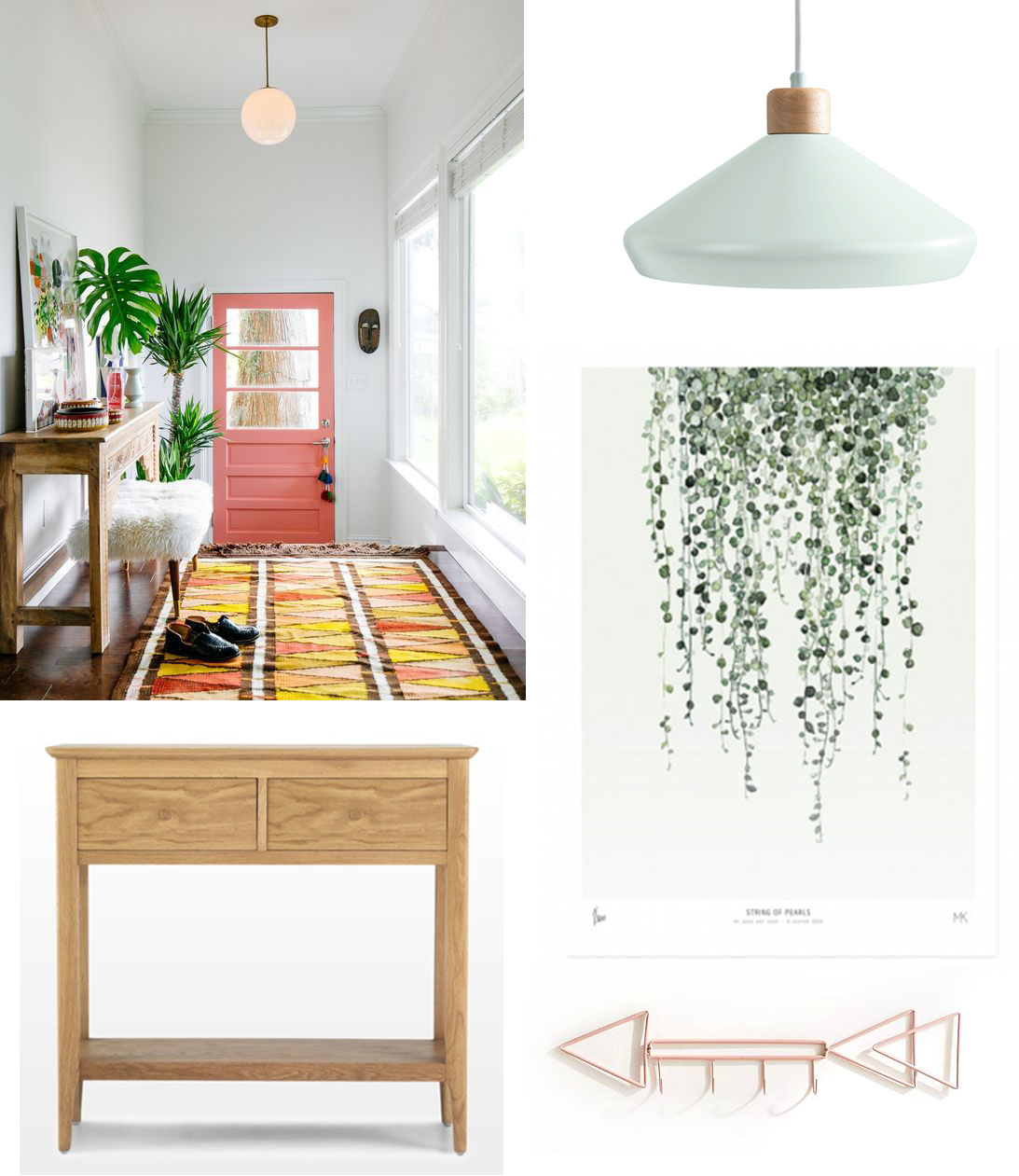 Image top left via  oldbrandnew.com  /  Mint green ceiling light , £49, made.com /  String of hearts art print,  £78, Ross and Brown /  Arrow hook , £19.60, Urban Outfitters /  Oak console Table , £217, Quercus Living