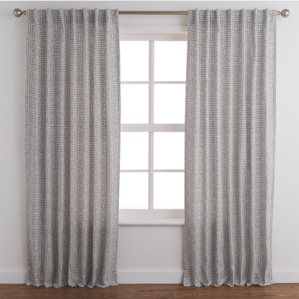 Pair of lined grey patterned curtains  - Habitat - £88