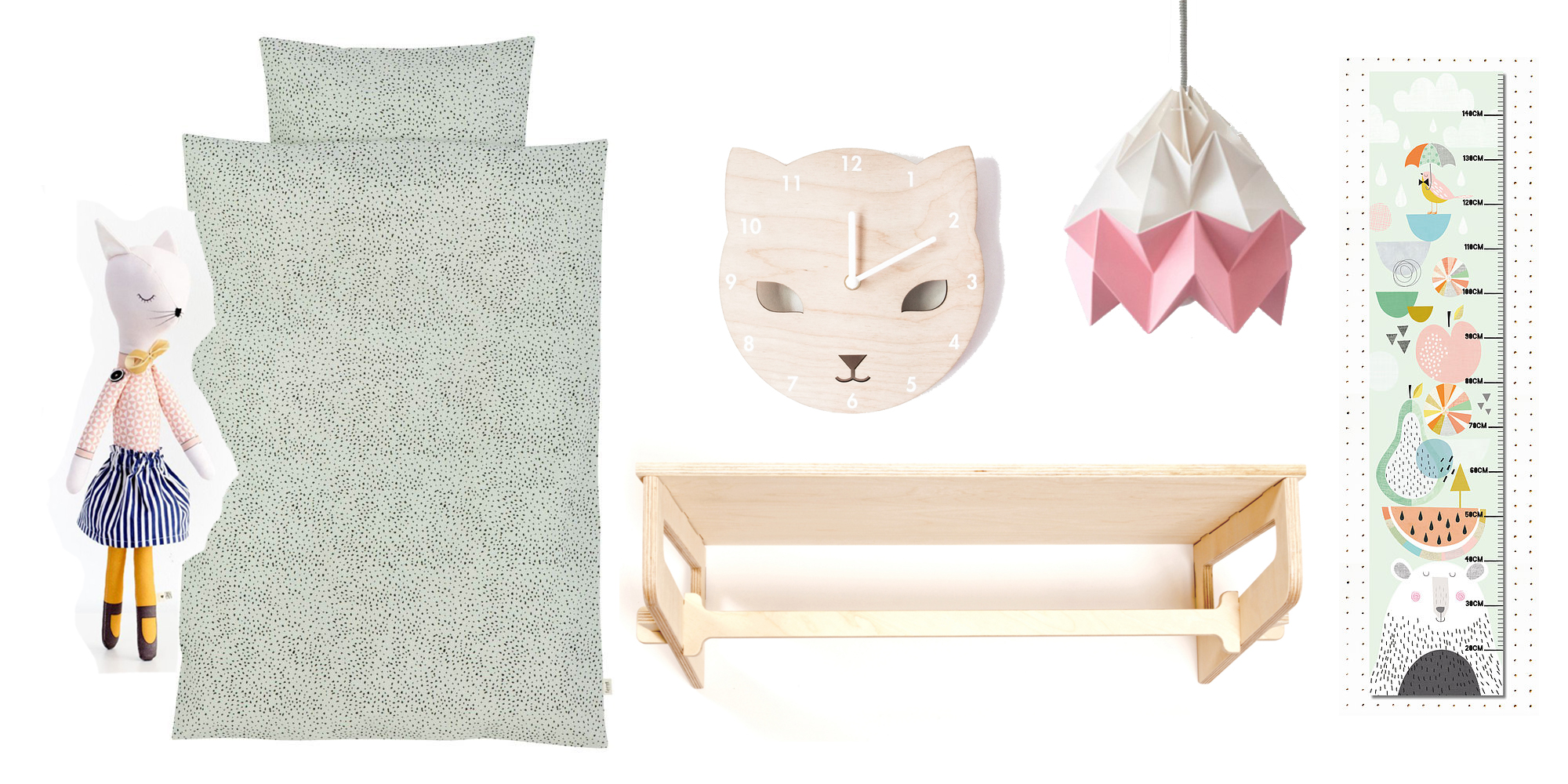 Miss Kitty doll , £30, Sarah and Bendrix /  bed linen , £50.74, Smallable /  Cat clock , £25, Red Hand Gang /  Light , Snowpuppe /  height chart , £17.50, Papermoon /  clothes rail & shelf , £68, The Modern Nursery