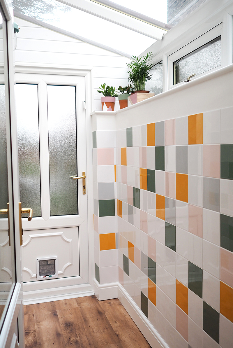 colourful tiled porch makeover