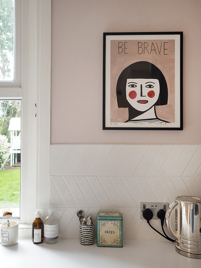 Be Brave print by Margo in Margate, I bought it from  Rose & Grey . The Pates tin is vintage and the black and white pot is from  H&M .