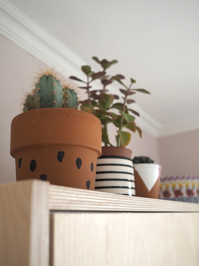 the stripy plant pot I bought in  Liberty , and the others I decorated myself.