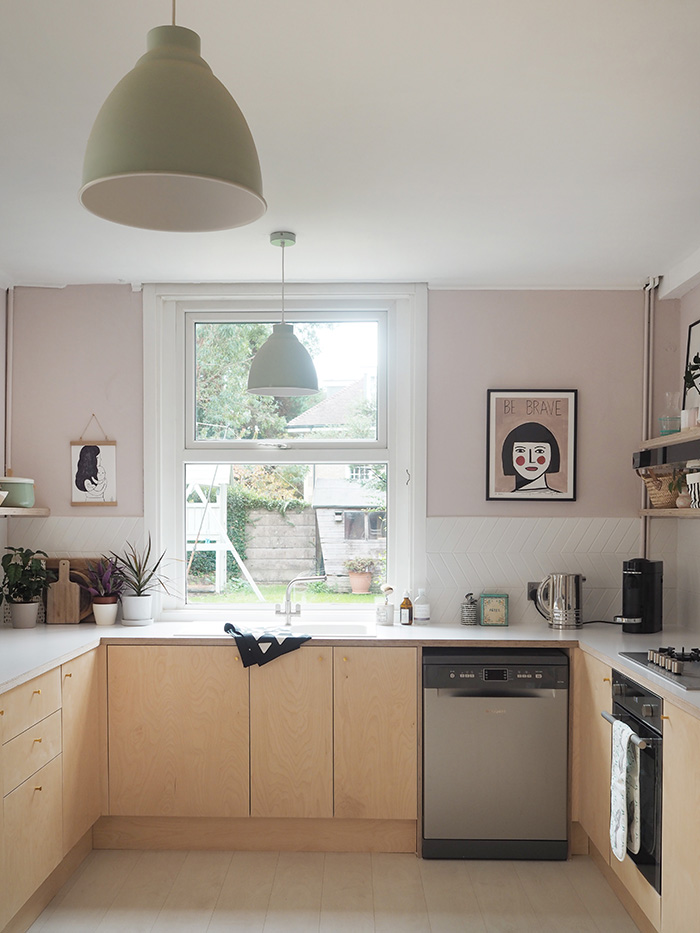 plywood and pink kitchen makeover
