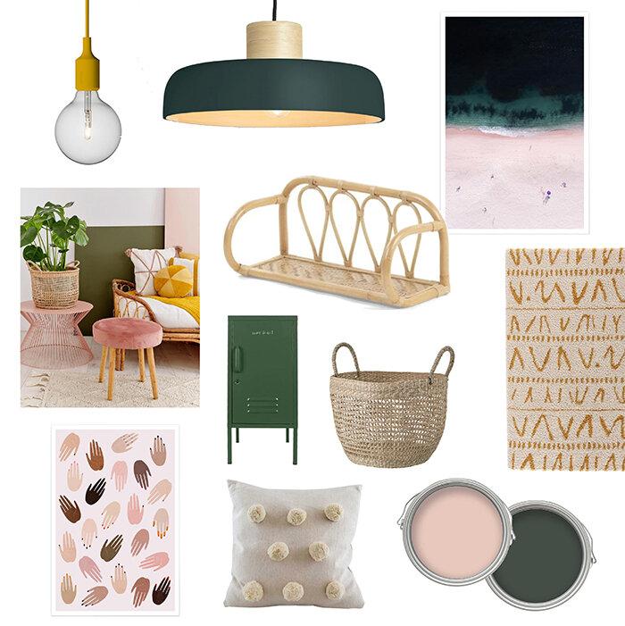 Pink, green and mustard interior mood board