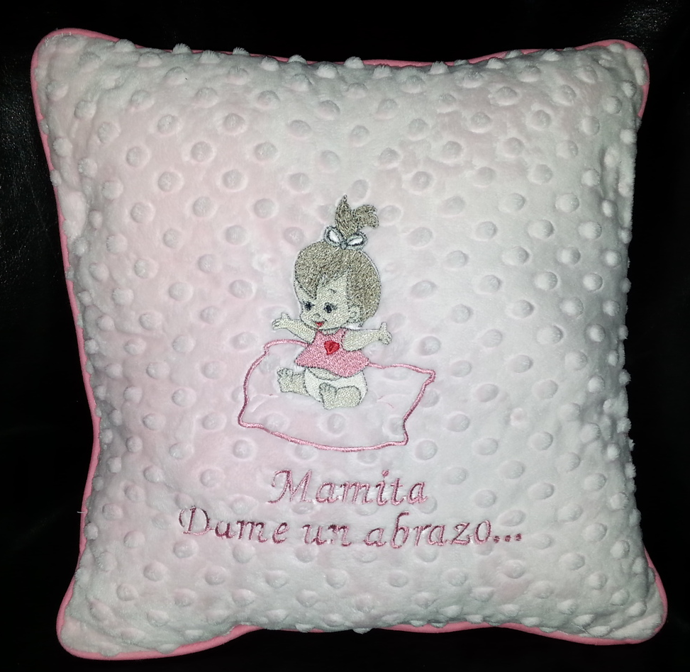 Baby's expression pillows in pink color.    Expression in English is, Mommy give me a hug.