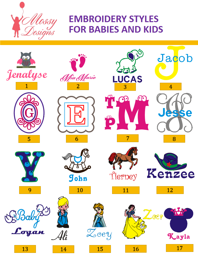 EMBROIDERY  STYLES KIDS