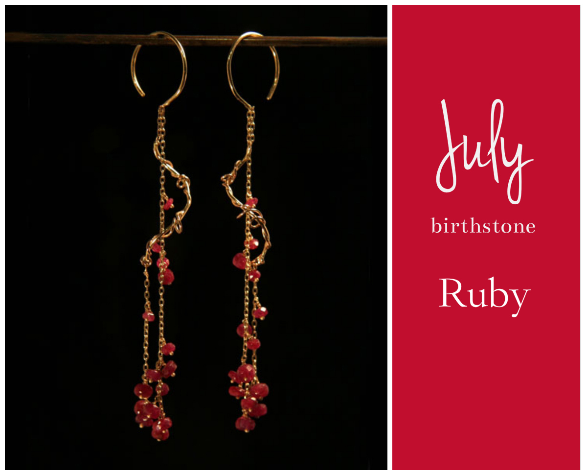 "July-Ruby  July's birthstone is the red ruby, and is said to guarantee health, wisdom, wealth, and success in love. This romantic gemstone's color ranges from vermillion to red, but if the color is too light, it's considered a colored sapphire. Ruby is a variety of corundum, which is in the same family as sapphire, and is extremely durable and perfect for everyday wear. We have several styles of necklaces featuring antique cut rubies as well as earrings with ""pigeon blood"" rubies. There's no better way to show your love than with this lovely gemstone!   shop these earrings at noi online store"