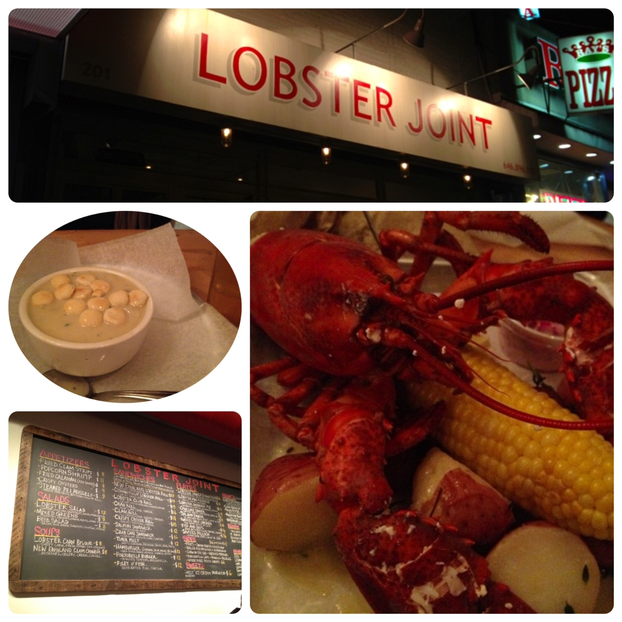 "Lobster Joint  201 E Houston St, New York, NY 10002  This ""Lobster Joint"" has recently joined our neighborhood so we decided to check them out one night. The atomosphere is casual and friendly. They have variety of seafood dishes such as soup, salad, and sandwiches. Steamed Lobster, which is perfect pairing with beer, was juicy and delicious! Lobster is not only tasty but it contains nutritional value such as Omega 3 fatty acid, vitamin B12, potassium, and so on. Try them and enjoy the taste and health benefits of lobster when you are in Lower East Side!"