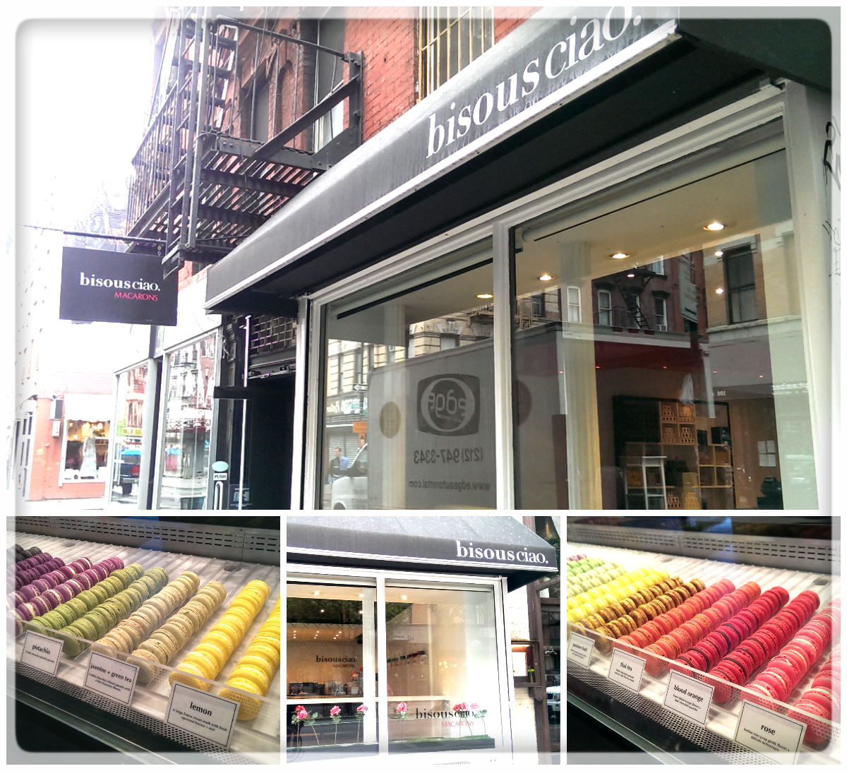 bisous ciao Macarons  101 Stanton St. New York, NY10002  This is where we visit when we want to indulge ourselves with a little treat. These little gems from bisous ciao are truly exquisite! Their macarons are all so delicate and heavenly delicious(I myself believe this is the best macaron!) It's not only tasty but also its so delicious to our eyes with lots of beautiful colors and makes you high when you enter the place! Our favorite flavors, Jasmine Green Tea and Rose always delight our coffee break. They also make a lovely gift for your special ones. It's only steps away from us, so try their macarons before or after shopping at Noi, 177 orchard st!