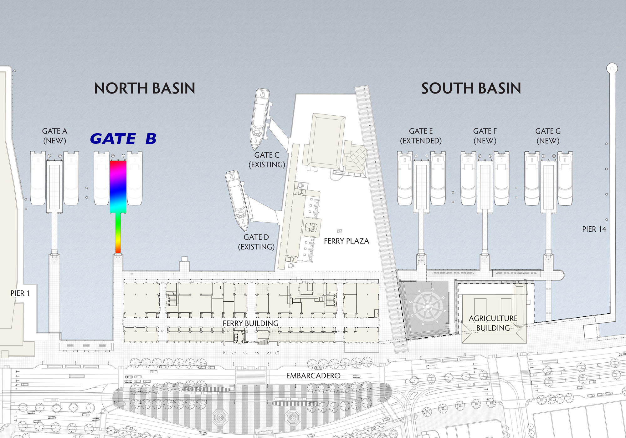 The 2019 Bay Cruise will be leaving from  GATE B  at the Ferry Building. This is on the North Side of the Ferry Building and is different from where we have boarded in the past.