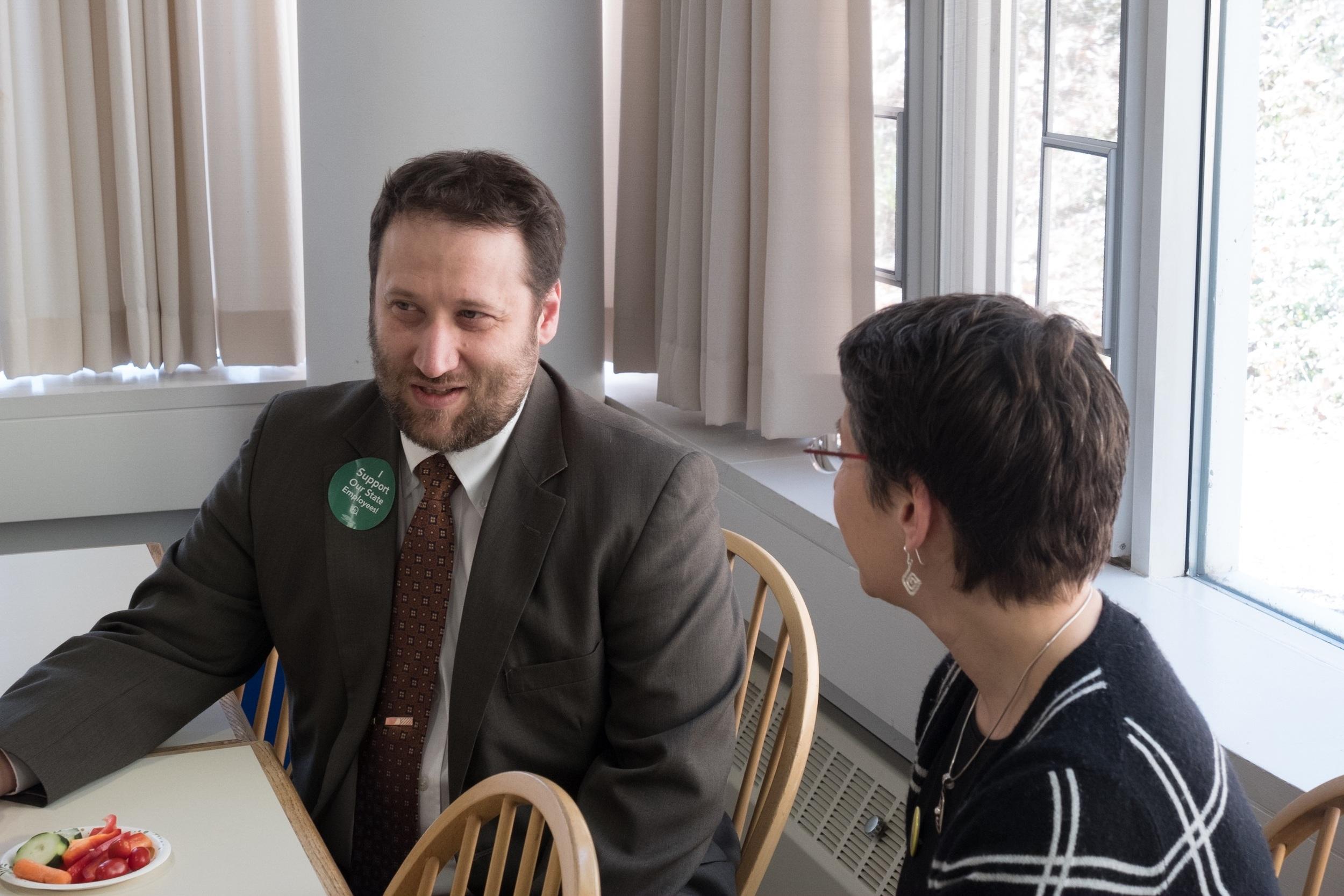 UA President Felicia Kornbluh talking to Representative Tristan Toleno