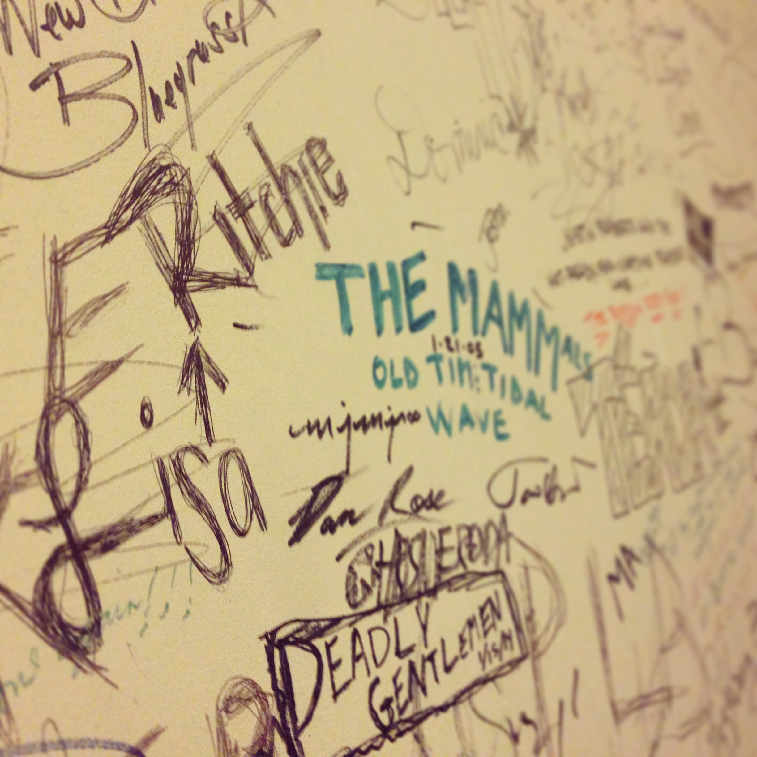 Signed my name on the dressing room wall--next to The Deadly Gentlemen...