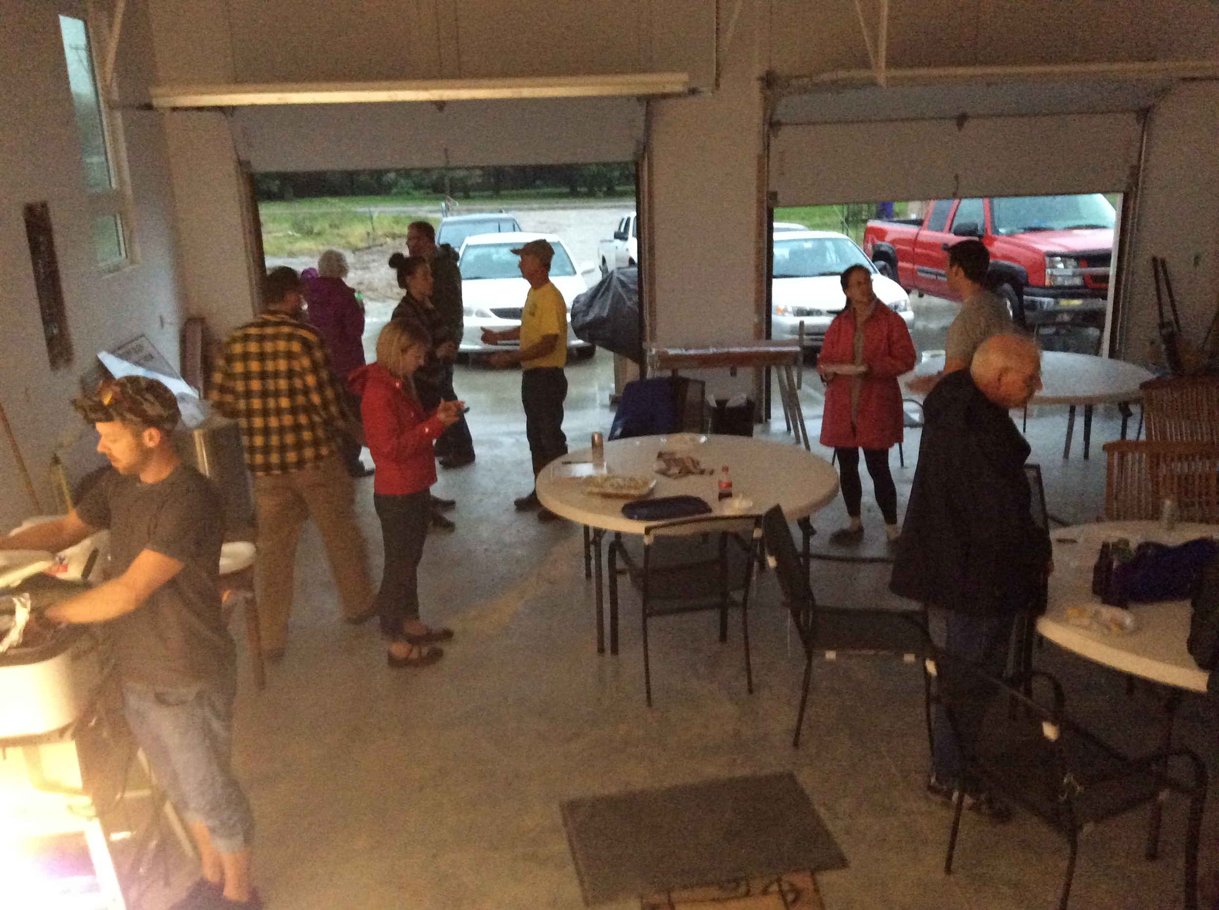 UA members stay high and dry in Ray's garage during the meet-up. He was kind enough to provide dinner.