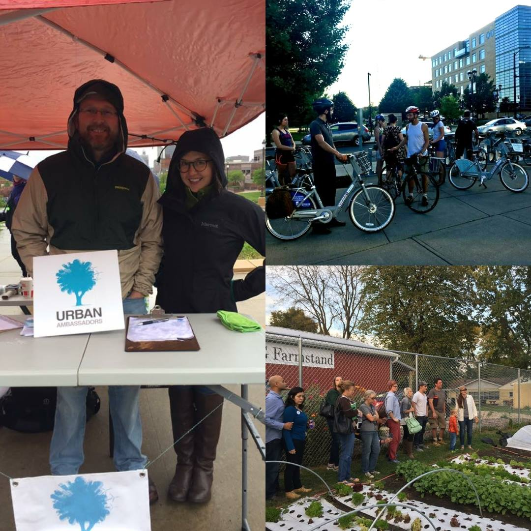 Left: Jeremy Moore and Chelsea Krist, Board Members, exhibit at the Climate March in Des Moines, April 2017. Top: June 2017 Meet-Up riding BCycles. Bottom: October 2016 Meet-Up Dogpatch Urban Garden tour.