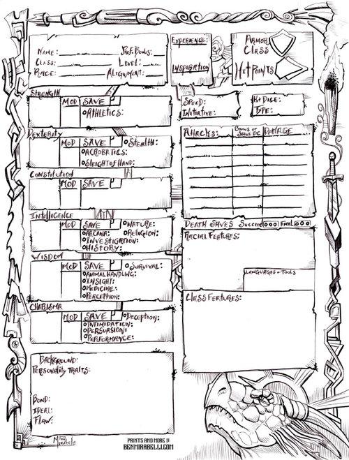 Hand Drawn D&D 5e character sheets — Ben Mirabelli