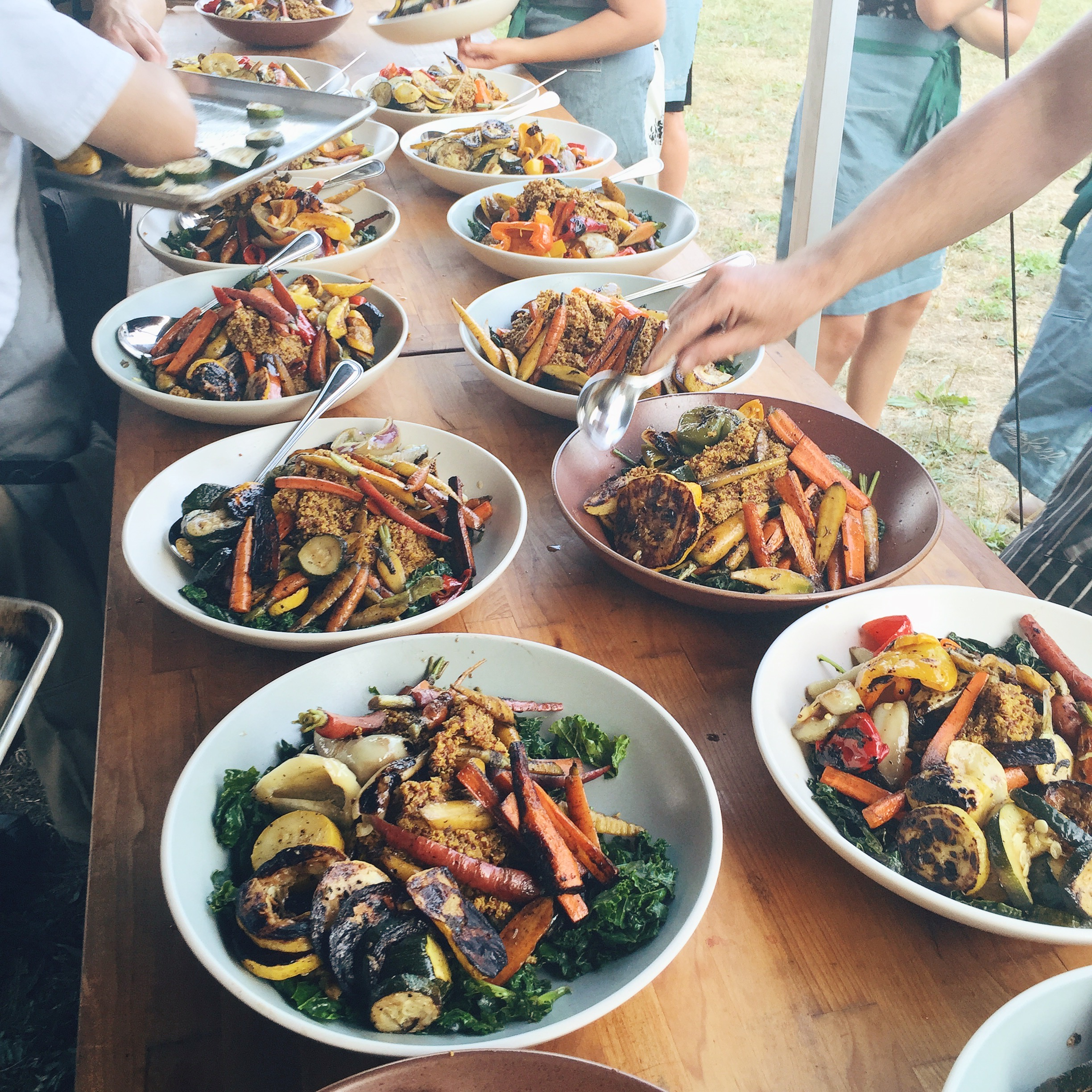 Family style Quinoa Paella at The Hickories Farm, Outstanding in the Field 2015.