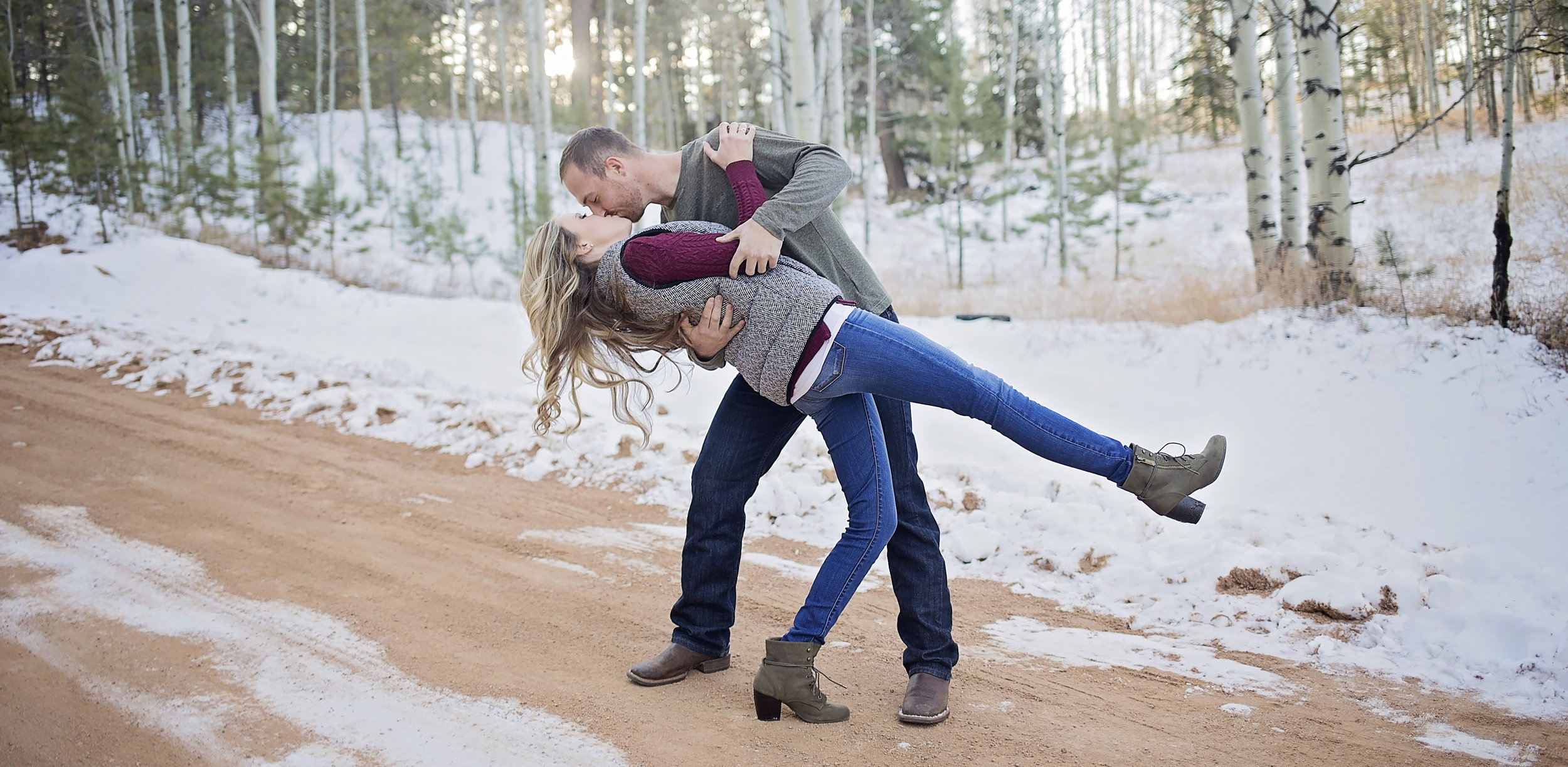 Snowy Colorado Engagement Photo Session